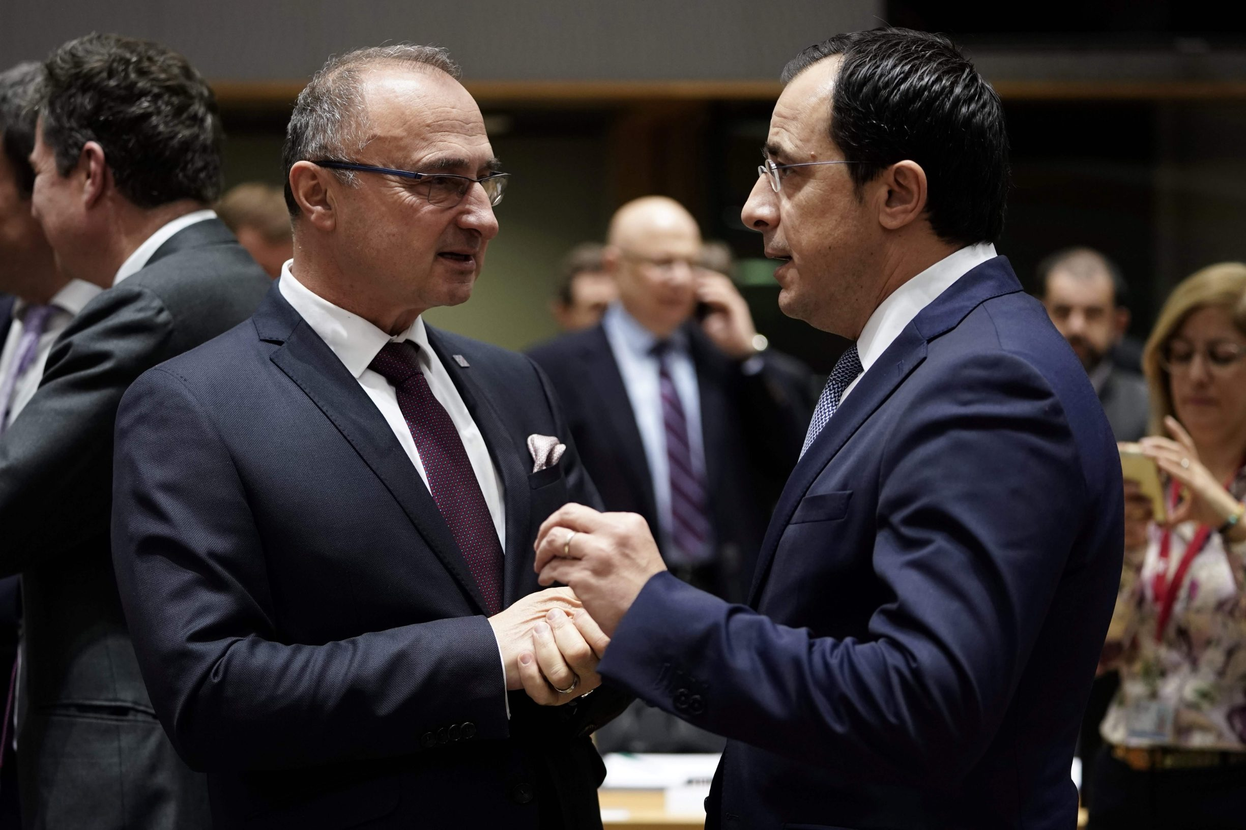 Hrvatski ministar vanjskih i europskih poslova Gordan Grlić Radman lijevo) i ciparski kolega Nikos Christodoulides