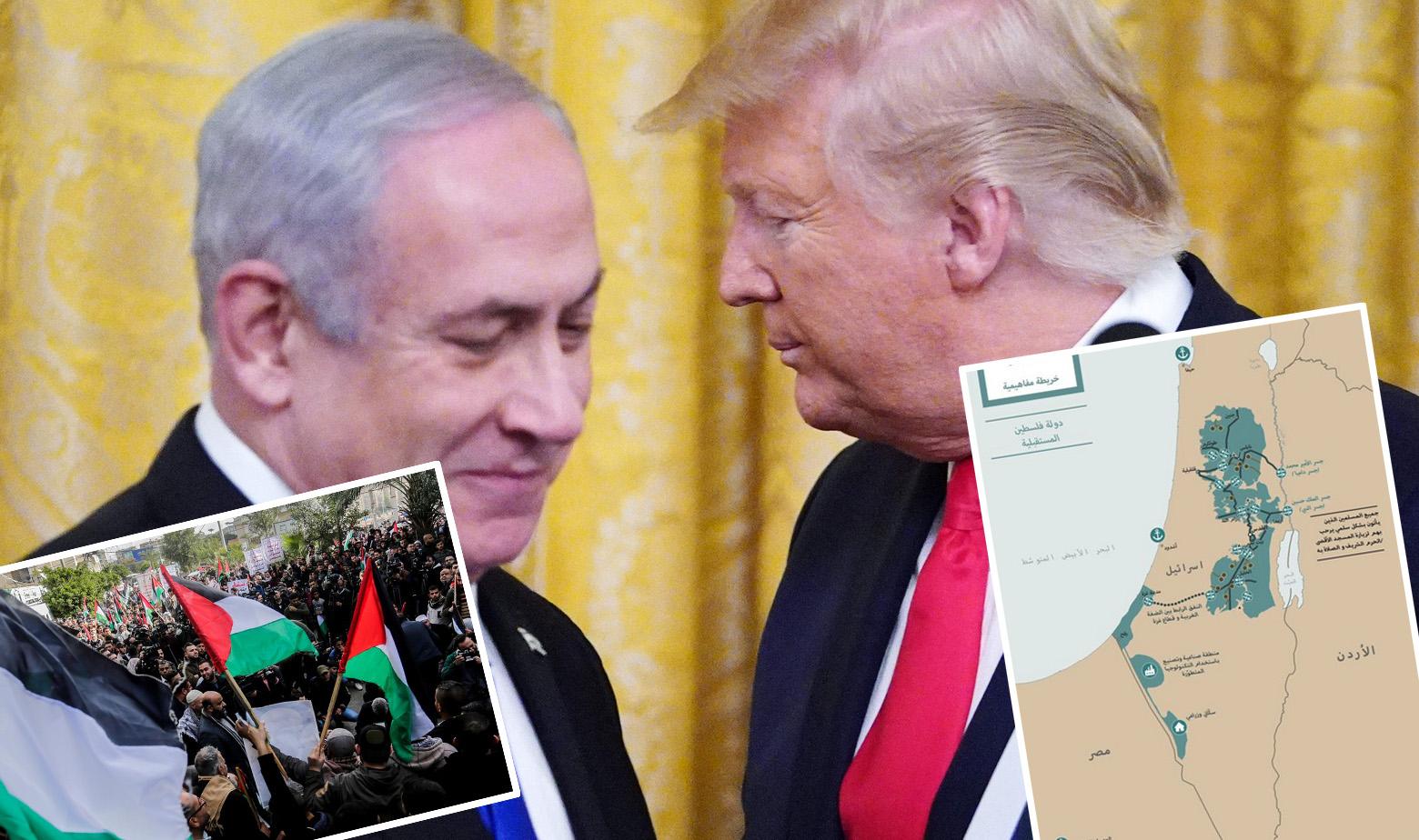 Benjamin Netanyahu i Donald Trump, prosvjedi Palestinaca i karta buduće 'Države Palestine'
