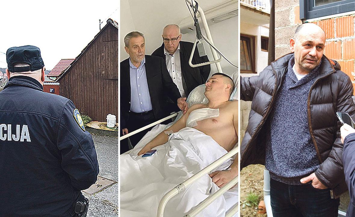 S. V. (desno), umirovljeni časnik 1. gardijske brigade Tigrovi, pratio je kriminalca do njegove kuće (lijevo), ranjenog djelatnika Čistoće Josipa Sabljića posjetio je Milan Bandić (u sredini)