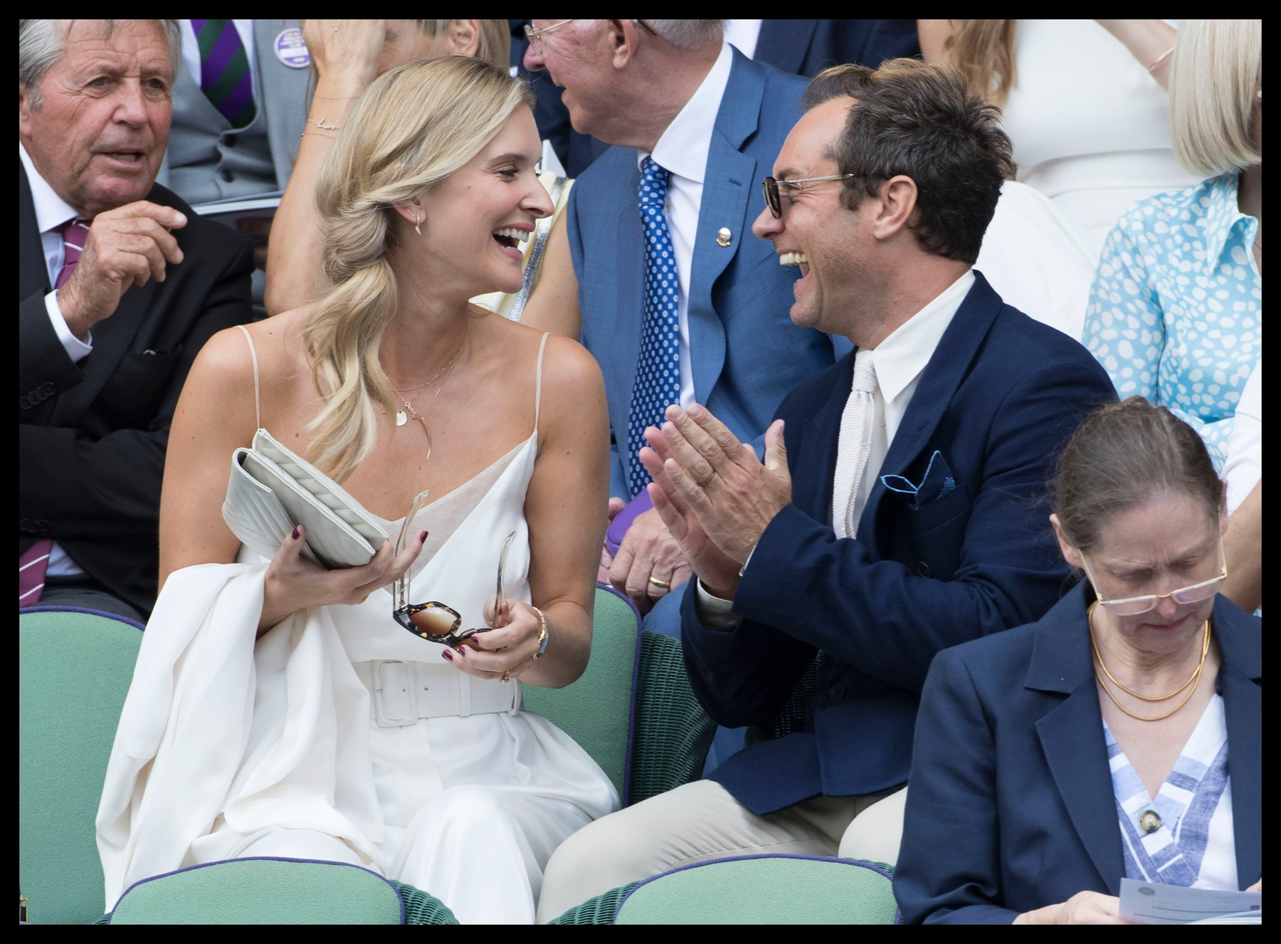 July 12, 2019 - London, London, United Kingdom - Image licensed to i-Images Picture Agency. 12/07/2019. London, United Kingdom. Jude Law and wife Phillipa Coan in the Royal Box  on day eleven of the Wimbledon Tennis Championships in London., Image: 457963527, License: Rights-managed, Restrictions: * China, France, Italy, Spain, Taiwan and UK Rights OUT *, Model Release: no, Credit line: Stephen Lock / Zuma Press / Profimedia