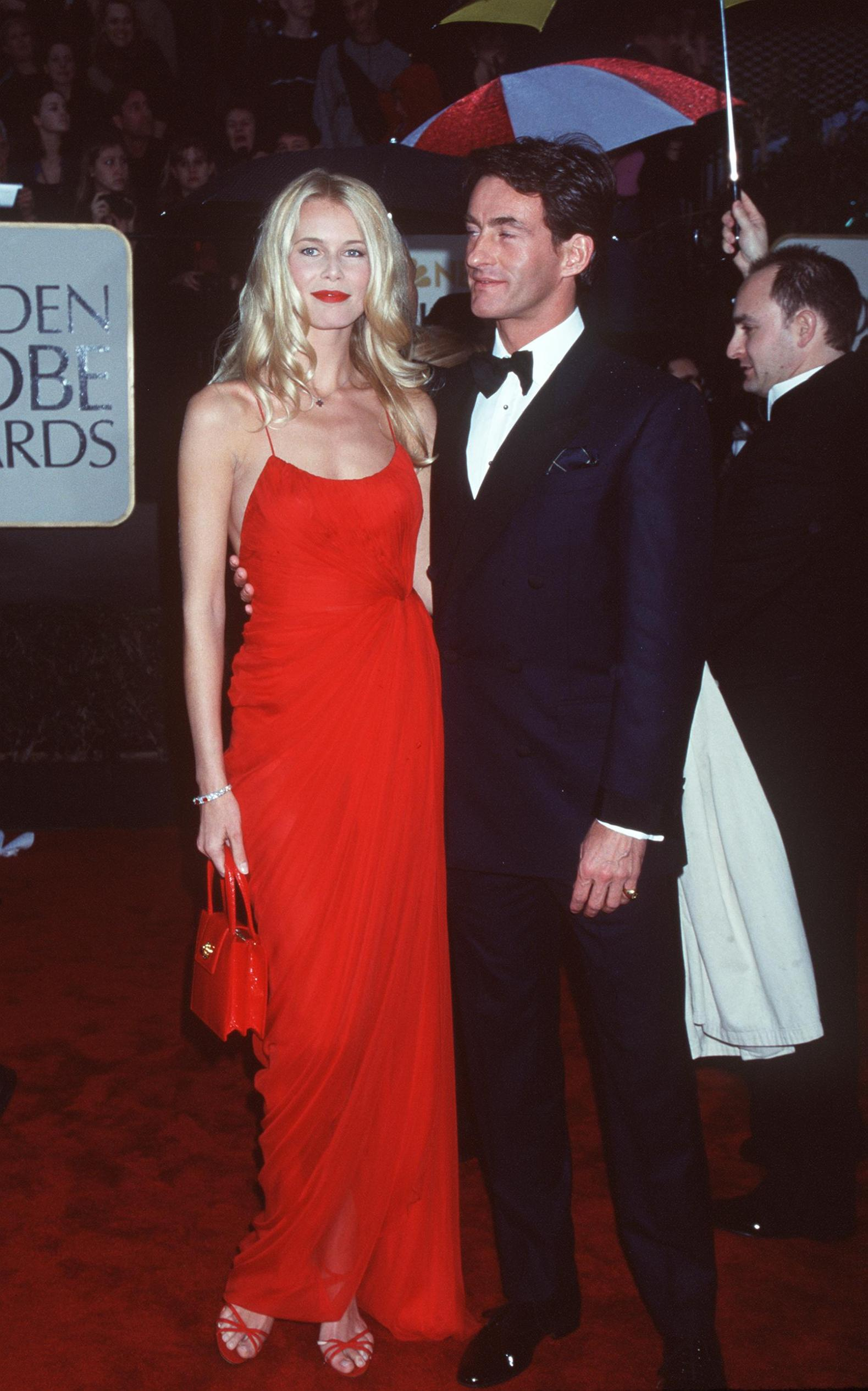 01/23/00 Los Angeles, CA Claudia Schiffer and boyfriend at the Golden Globe Awards. Photo Brenda Chase Online USA, Inc.