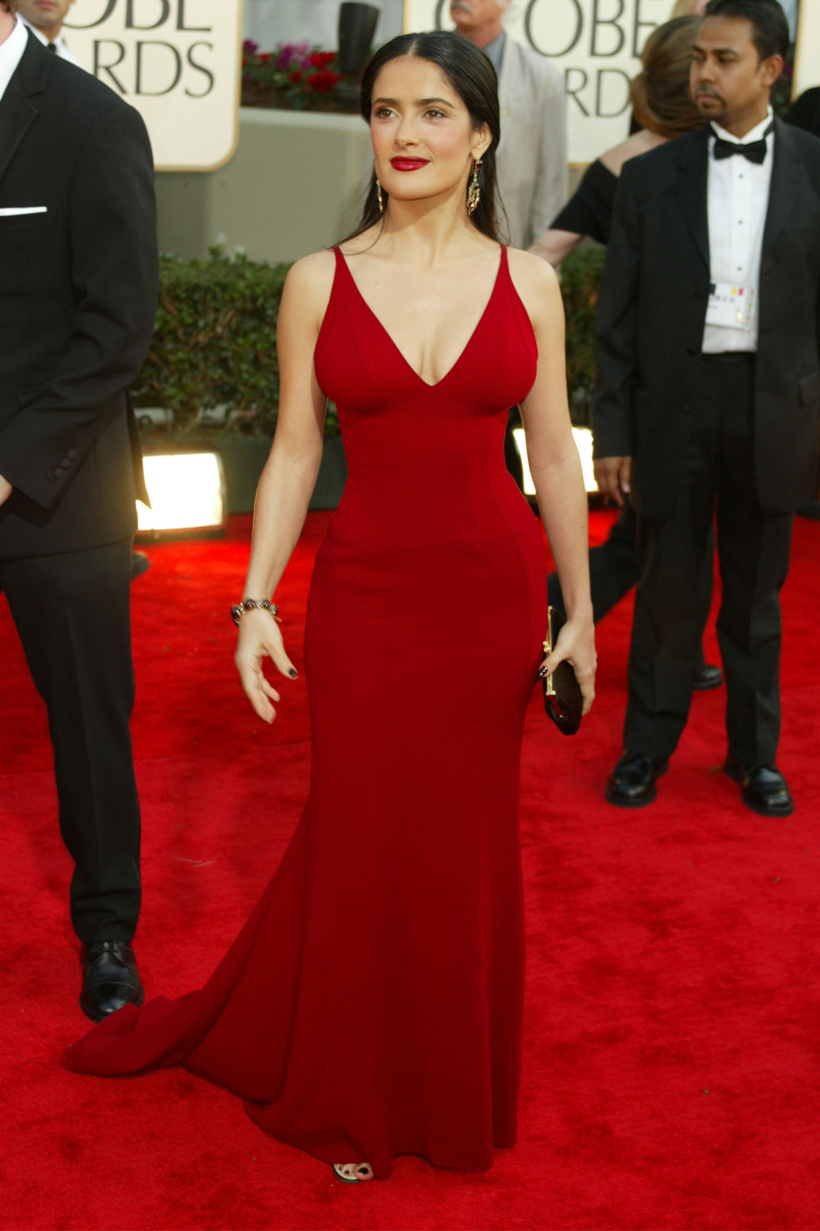 Salma Hayekarrives at the 60th Annual Golden Globe Awards held at the Beverly Hilton Hotel in Los Angeles, CA  on January 19, 2003.  Photo by Kevin Winter/Getty Images.