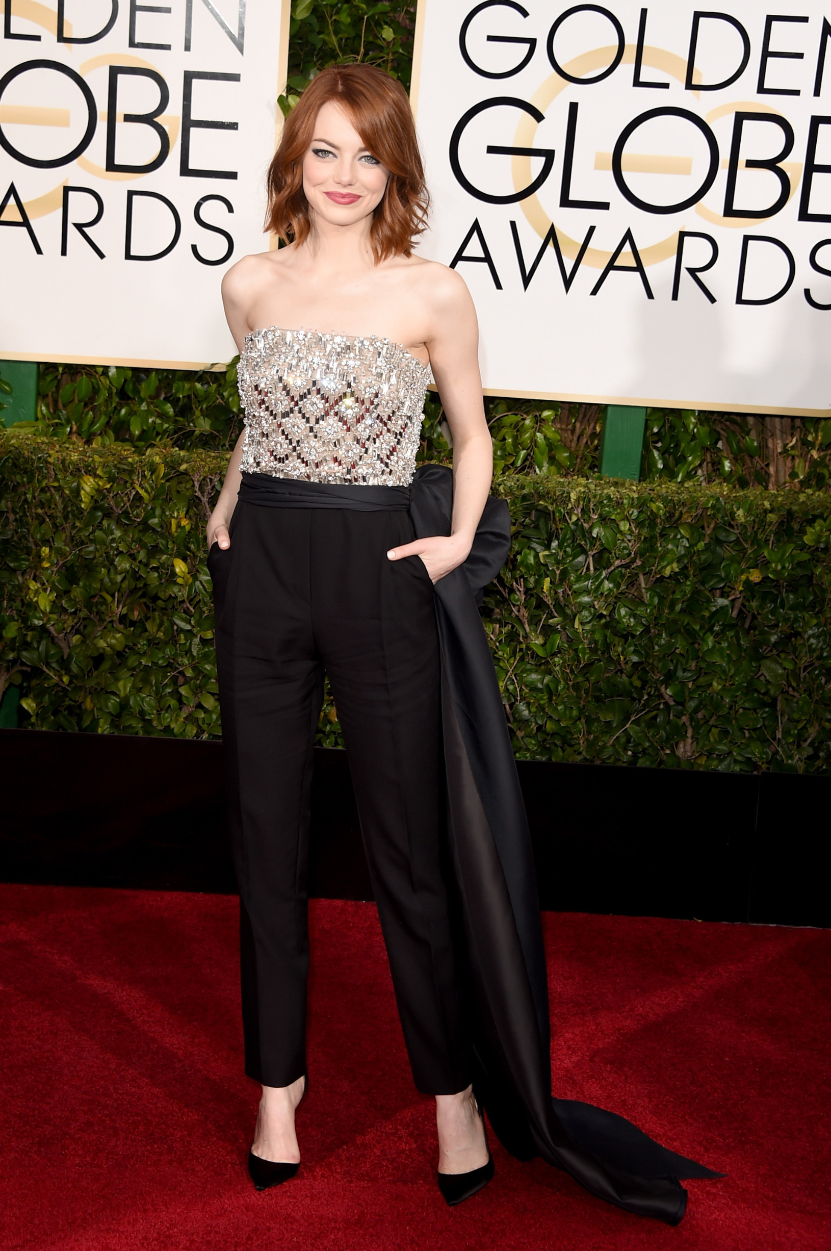 BEVERLY HILLS, CA - JANUARY 11: Actress Emma Stone attends the 72nd Annual Golden Globe Awards at The Beverly Hilton Hotel on January 11, 2015 in Beverly Hills, California.  (Photo by Jason Merritt/Getty Images)