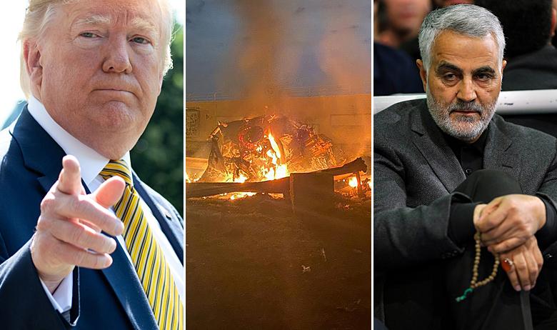 Donald Trump (lijevo), automobil koji je uništila američka raketa i general Kasim Sulejmani (desno)