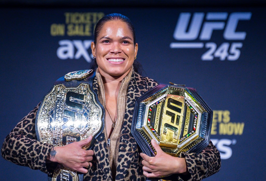 New York, NY, USA, 11/02/2019 - UFC 245 - Press Conference - Amanda Nunes and Germainede Randamie during a press conference for UFC 245 to be held on December 14, 2019 in Las Vegas. Photo: Jason Silva / AGIF