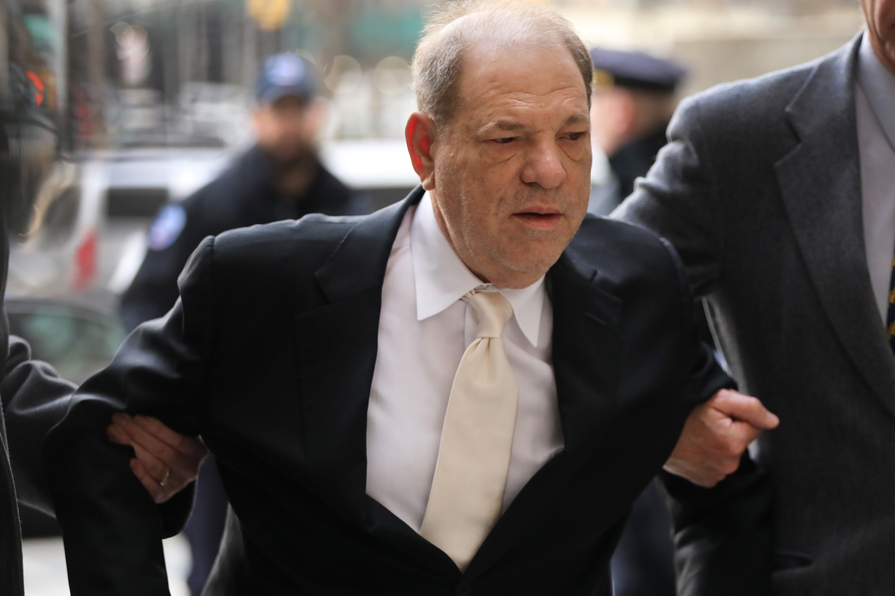 NEW YORK, NEW YORK - JANUARY 23: Harvey Weinstein arrives at a Manhattan court house for the second day of his trial on January 23, 2020 in New York City. Weinstein, a movie producer whose alleged sexual misconduct helped spark the #MeToo movement, pleaded not-guilty on five counts of rape and sexual assault against two unnamed women and faces a possible life sentence in prison. (Photo by Spencer Platt/Getty Images)