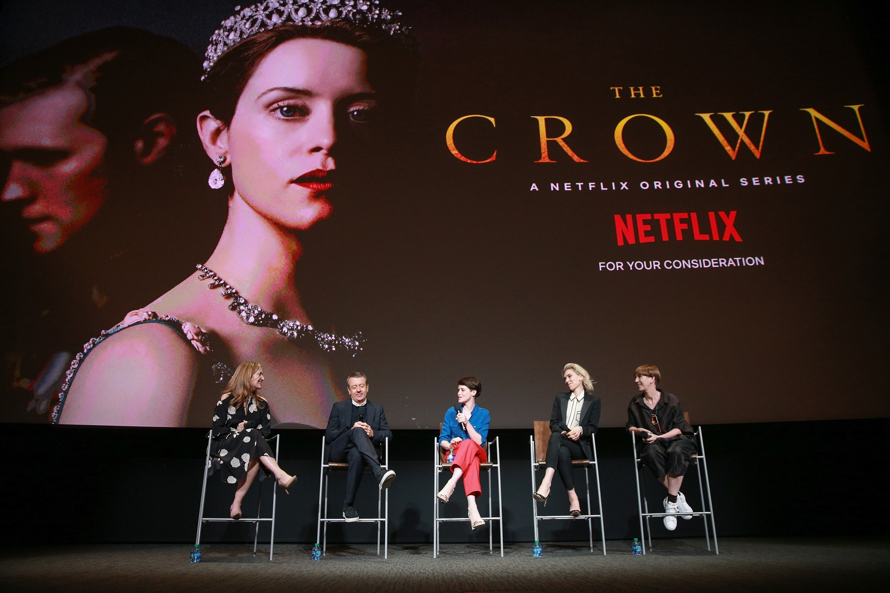 NORTH HOLLYWOOD, CA - APRIL 27:  (L-R) Krista Smith, Peter Morgan, Claire Foy, Vanessa Kirby and Jane Petrie speak onstage during the For Your Consideration event for Netflix's
