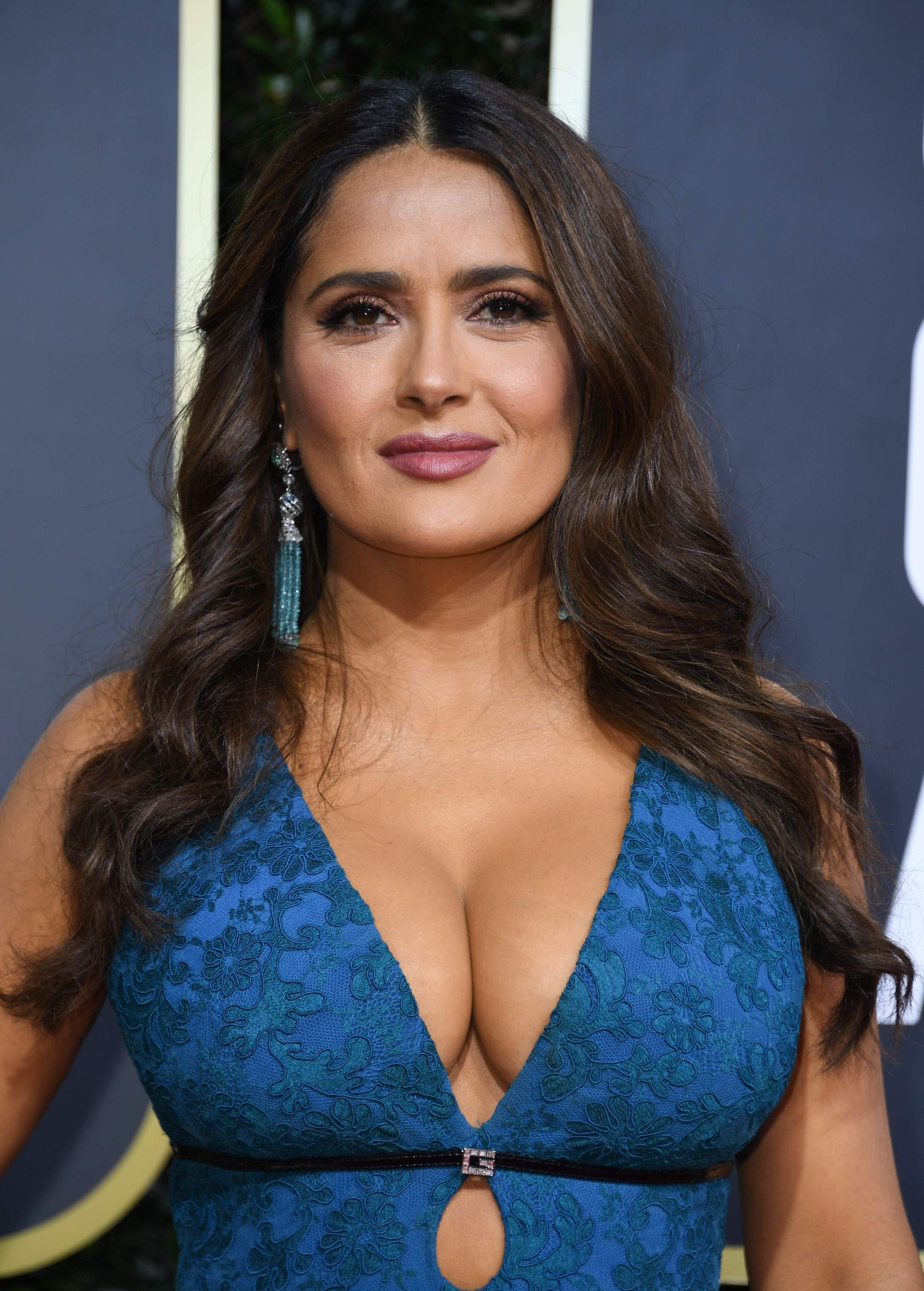 Actress Salma Hayek arrives for the 77th annual Golden Globe Awards on January 5, 2020, at The Beverly Hilton hotel in Beverly Hills, California. (Photo by VALERIE MACON / AFP)