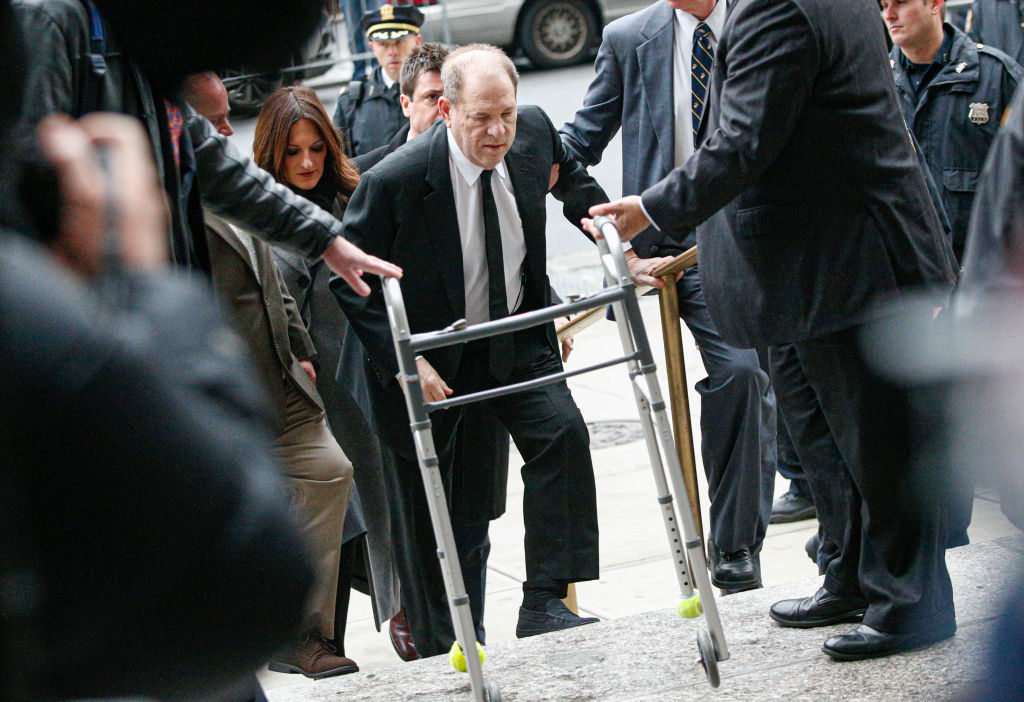 NEW YORK, NY - JANUARY 06: Harvey Weinstein arrives to the court on January 6, 2020 in New York City. Weinstein, a movie producer whose alleged sexual misconduct helped spark the #MeToo movement, pleaded not-guilty on five counts of rape and sexual assault against two unnamed women and faces a possible life sentence in prison. (Photo by Kena Betancur/Getty Images)