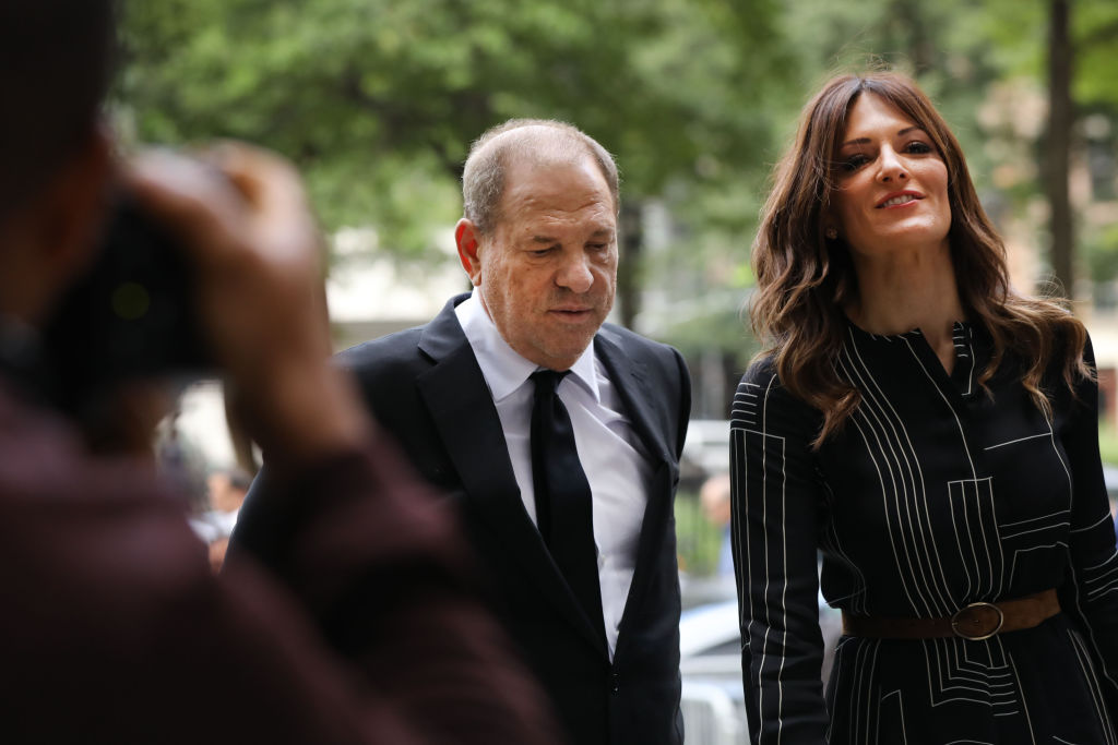 NEW YORK, NEW YORK - AUGUST 26: Harvey Weinstein arrives to court with his lawyer Donna Rotunno for arraignment over a new indictment for sexual assault on August 26, 2019 in New York City. The new charges against the movie mogul are from an indictment involving the actor Annabella Sciorra. Weinstein has already been charged with a host of other sexual assault charges and with the trial due to start in three weeks prosecutors are likely to request to add Sciorra's testimony to be included rather than add an additional charge. (Photo by Spencer Platt/Getty Images)
