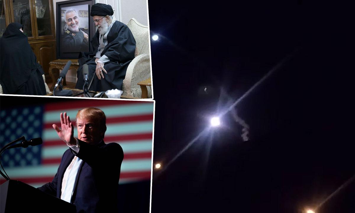 ajatolah Ali Khamenei pored slike ubijenog Kasema Sulejmanija (gore lijevo), Donald Trump (dolje lijevo), lansiranje iranskog projektila (glavna fotografija)