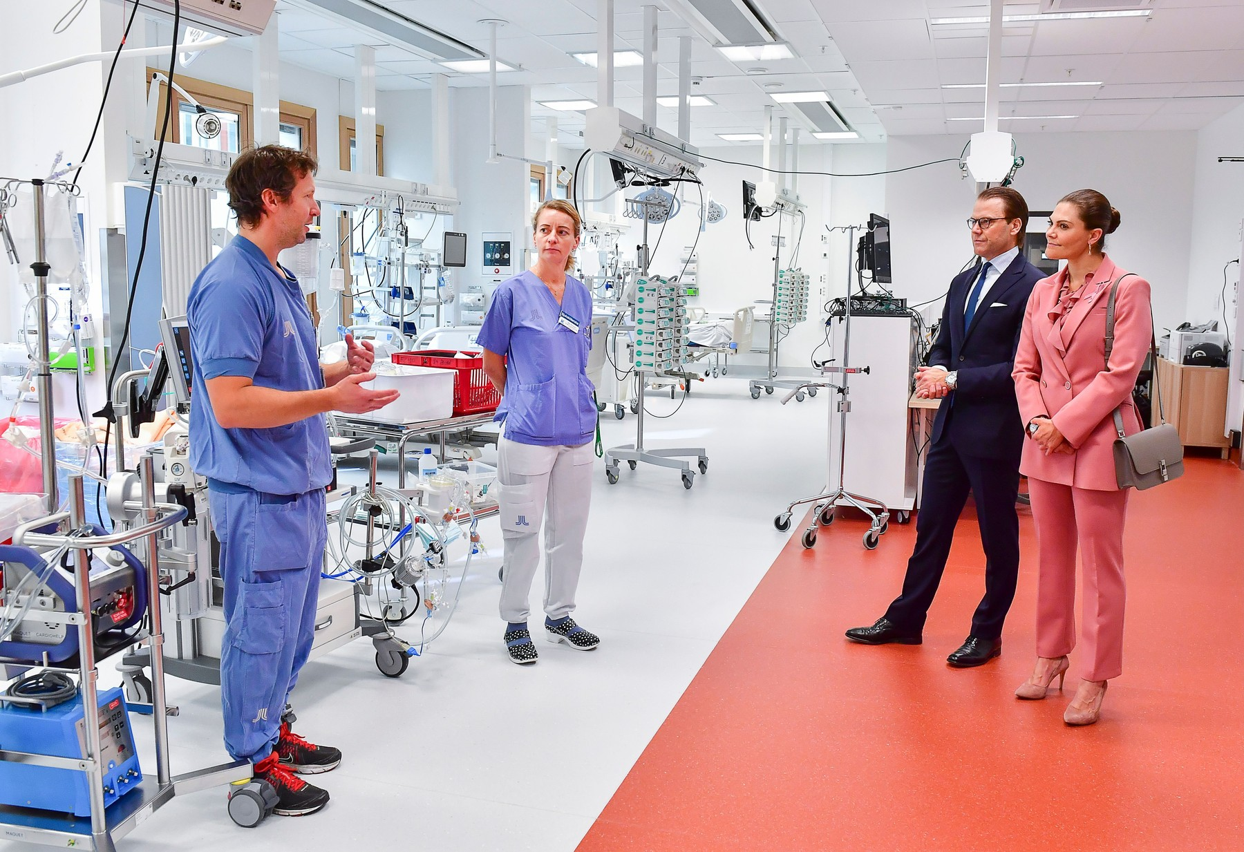 Crown Princess Victoria and Prince Daniel. The Crown Princess couple with Lars Falk, Clinical Director ECMO-unit, and nurse Mia Pettersson Crown Princess Victoria and Prince Daniel visit to ECMO Center, Karolinska University Hospital, Stockholm, Sweden - 30 Sep 2020,Image: 560636386, License: Rights-managed, Restrictions: , Model Release: no, Credit line: IBL / Shutterstock Editorial / Profimedia