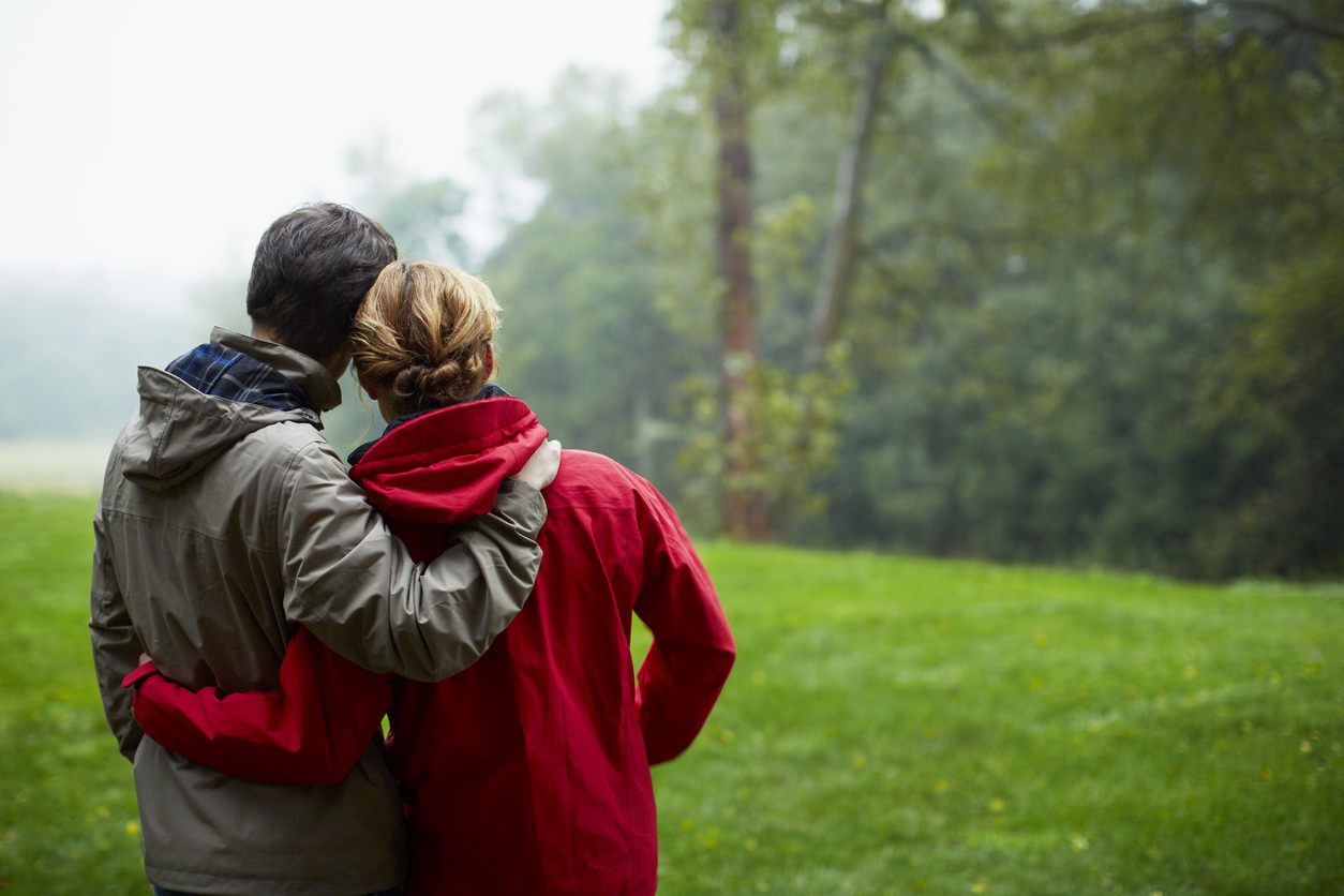 Rear view of affectionate young couple looking at view in forest during winter