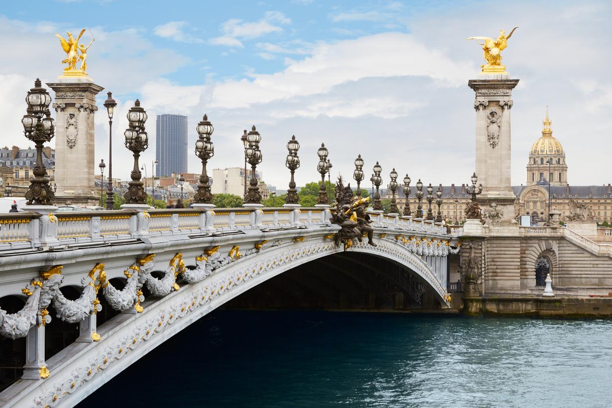 Alexandre III bridge in Paris in the morning, France