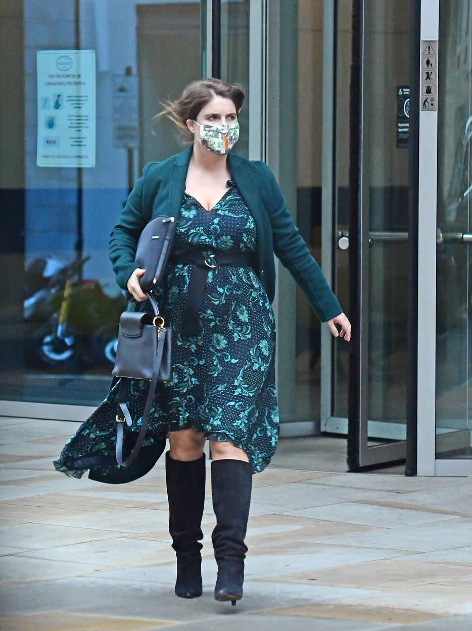 London, UNITED KINGDOM  - *PREMIUM-EXCLUSIVE*  - MUST CALL FOR PRICING BEFORE USAGE   - Princess Eugenie seen showcasing her growing baby bump in the capital as she battles with the windy conditions.   The Princess was seen looking elegant and fashionable as she stepped out in a matching green dress and coat in Mayfair London.  *UK Clients - Pictures Containing Children Please Pixelate Face Prior To Publication*,Image: 560889789, License: Rights-managed, Restrictions: , Model Release: no, Credit line: BACKGRID / Backgrid UK / Profimedia