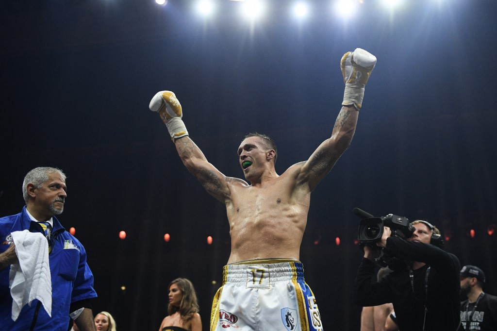 5596651 22.07.2018 Oleksandr Usyk (Ukraine) after a victory in the World Boxing Super Series (WBSS) cruiserweight title unification bout against Murat Gassiev (Russia). Vladimir Astapkovich / Sputnik
