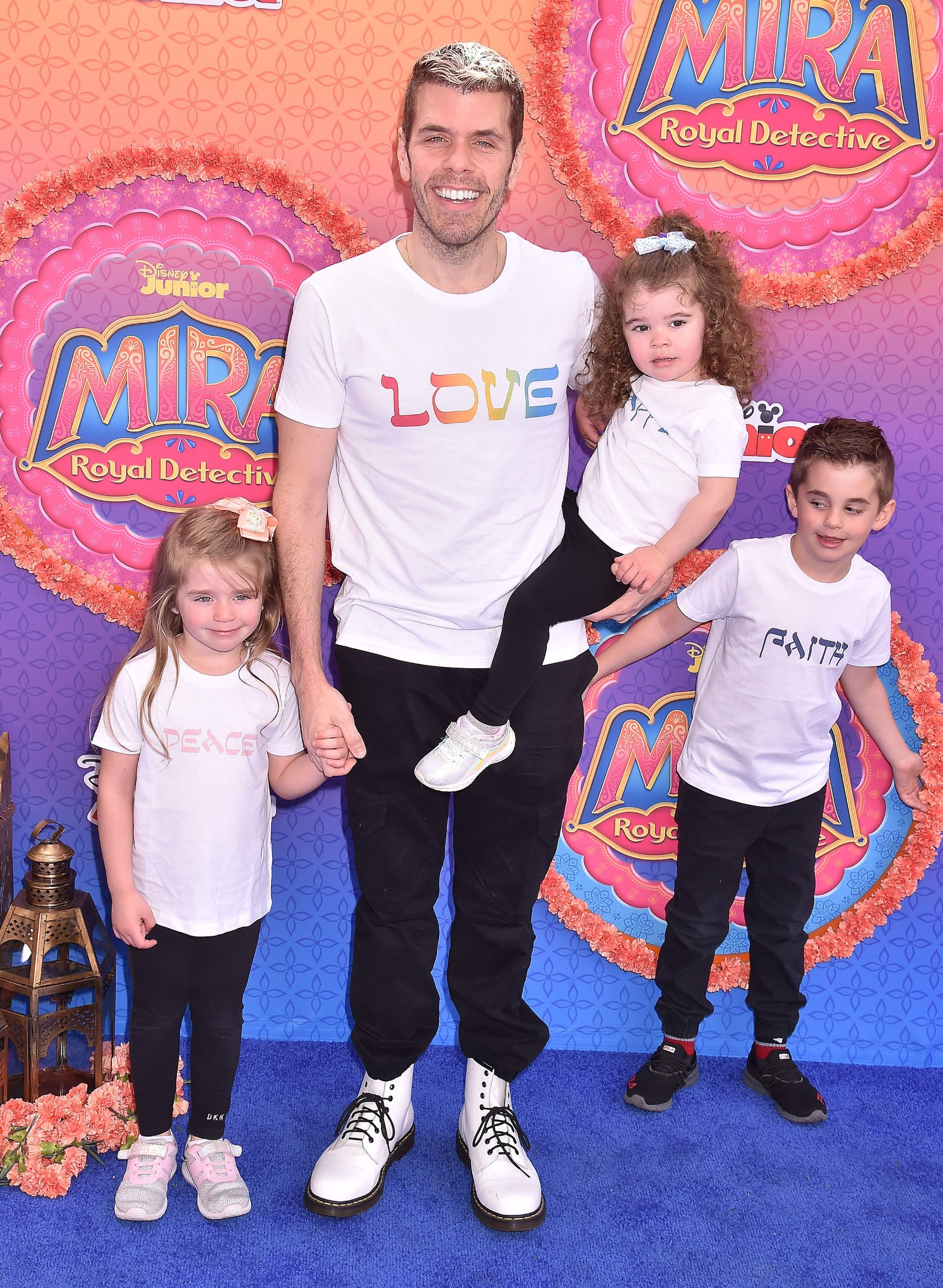 BURBANK, CA - MARCH 07: Perez Hilton and family attend the premiere of Disney Junior's