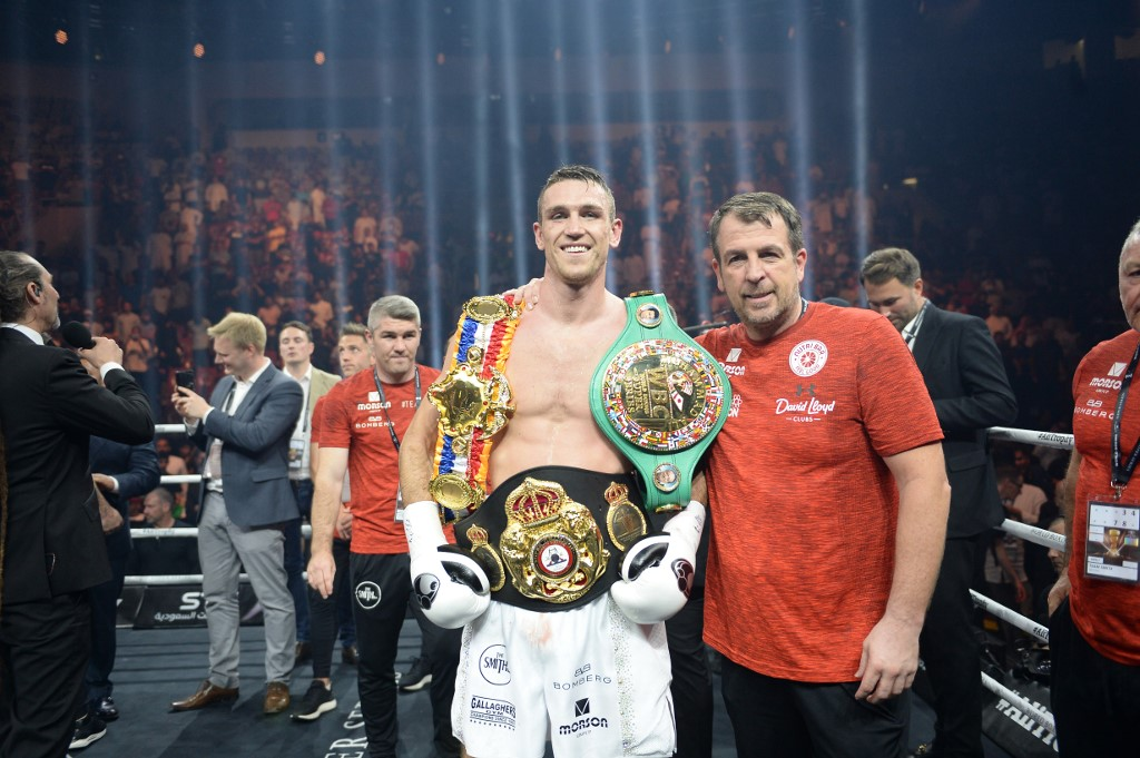 British boxer Callum Smith is seen celebrating his victory against George Groves during the World Boxing Super Series Super-Middleweight Final at the king Abdullah Sports City in the Saudi coastal Red Sea city of Jeddah in Saudi Arabia, on September 28, 2018. (Photo by STR / AFP)