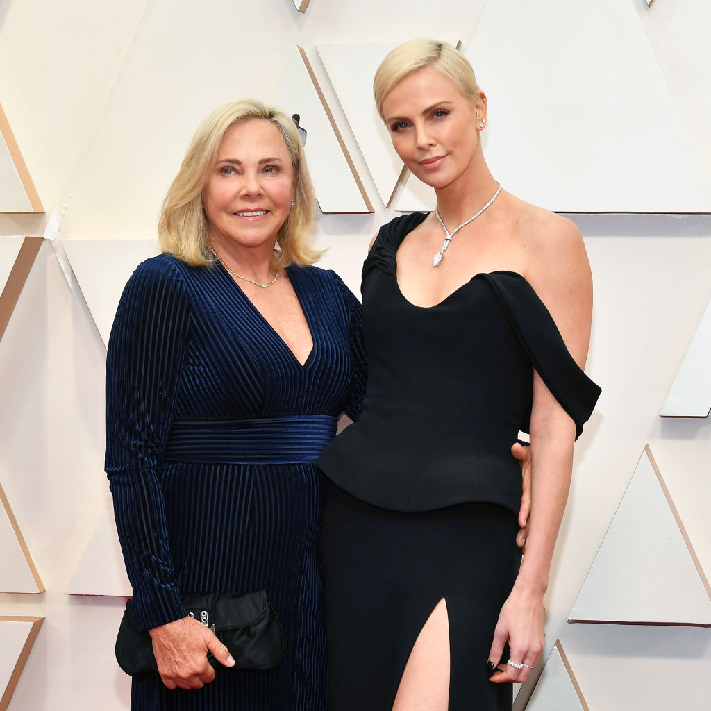 HOLLYWOOD, CALIFORNIA - FEBRUARY 09: (L-R) Gerda Jacoba Aletta Maritz and Charlize Theron attend the 92nd Annual Academy Awards at Hollywood and Highland on February 09, 2020 in Hollywood, California. (Photo by Amy Sussman/Getty Images)