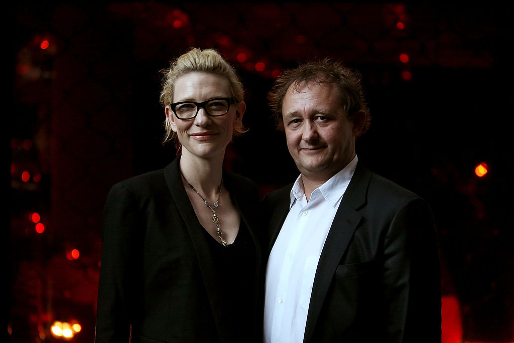 SYDNEY, AUSTRALIA - FEBRUARY 09:  Actress and Sydney Theatre Company co-artistic director Cate Blanchett (L) and husband and co-artistic director Andrew Upton attend the opening night of new musical