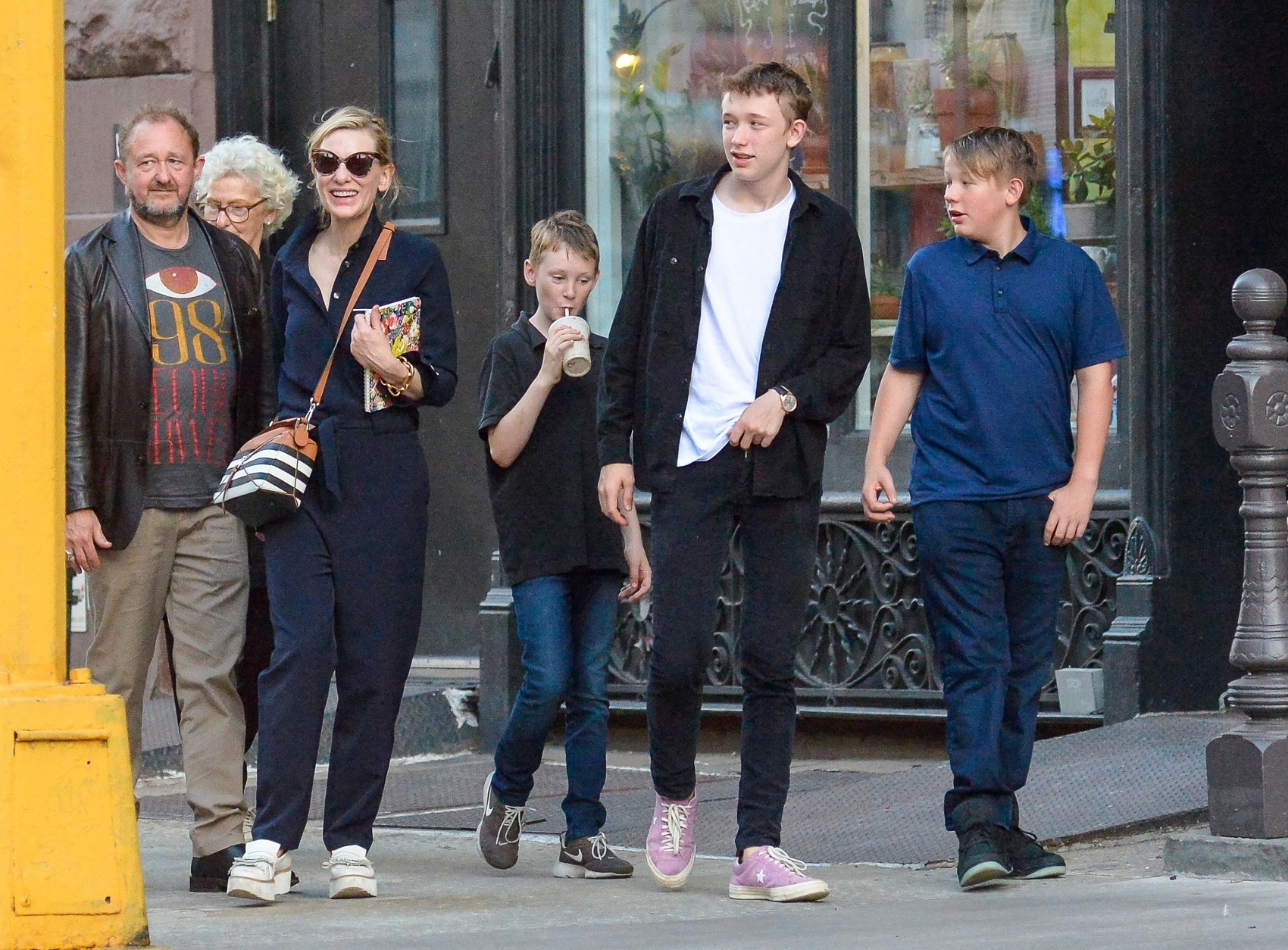 New York, NY  - *EXCLUSIVE*  - Actress Cate Blanchett, husband Andrew Upton, and their three boys, along with some family members, pictured strolling around NY on this Friday morning. Cate Blanchett might not be done wreaking havoc on the Marvel Cinematic Universe now that Natalie Portman is becoming the 'female Thor'. The two-time Academy Award winner obliterated Asgard as Hela, the goddess of death, in Thor: Ragnarok and nearly brought both the God of Thunder and his brother Loki to their knees, before being taken down by Surtur.  Blanchett has still been following the news about the MCU, and she's thrilled that fellow Oscar winner Portman will actually take the hammer in Thor: Love and Thunder.