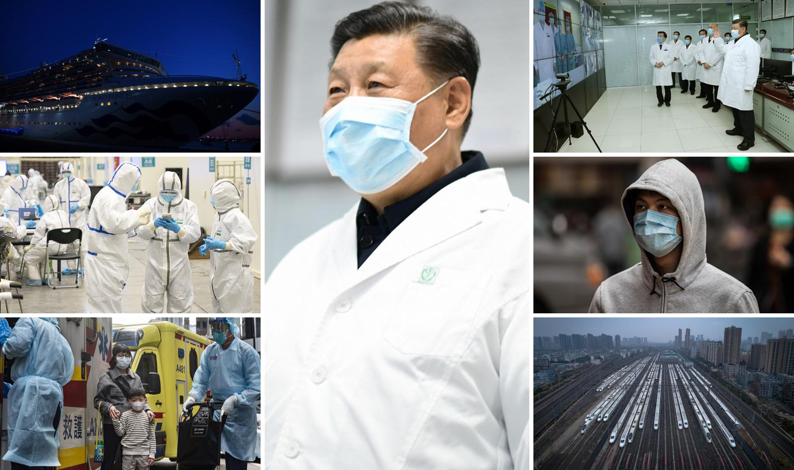 Kruzer Diamond Princess (gore lijevo), Xi Jinping (u sredini), prizori iz Wuhana i Hong Konga te superbrzi vlakovi koji danima stoje na stanici u Wuhanu (dolje desno)