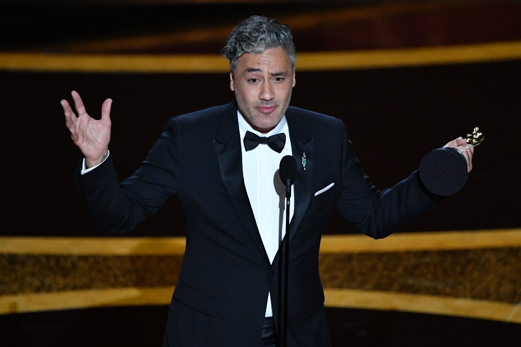 New Zealand director/actor Taika Waititi accepts the award for Best Adapted Screenplay for