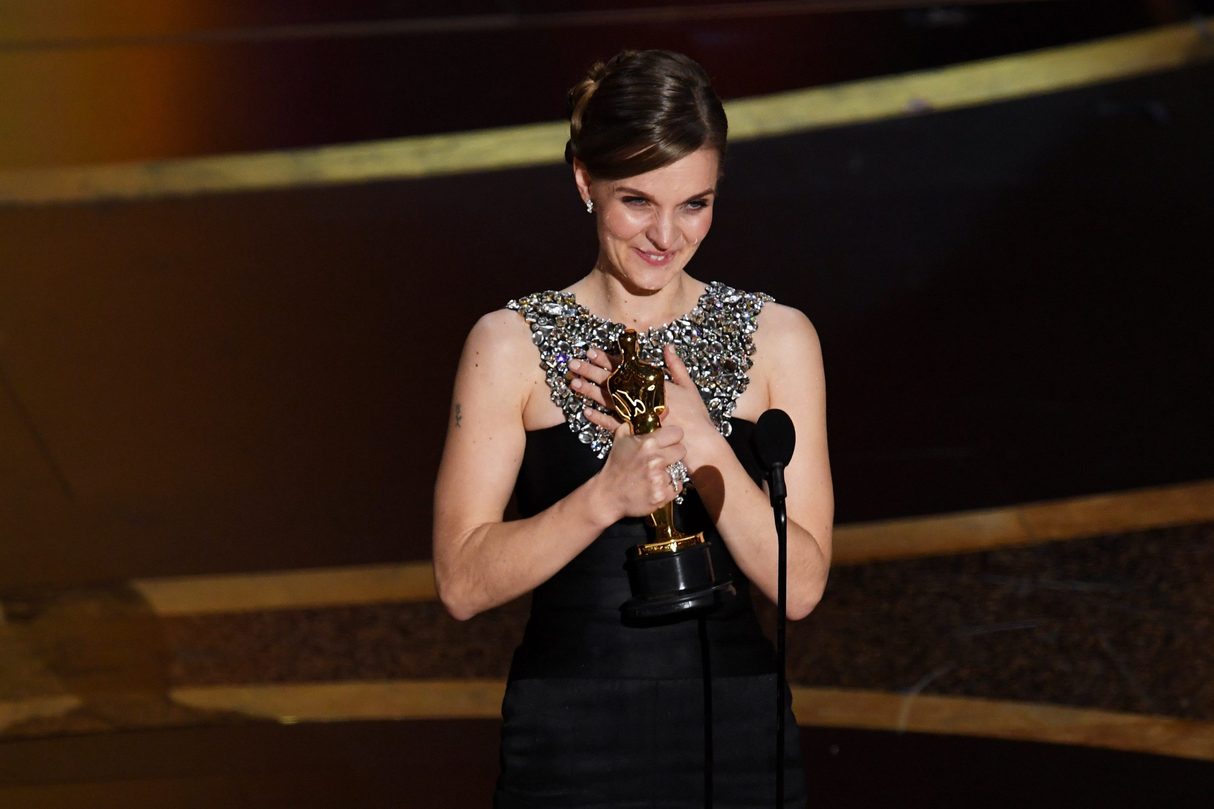 HOLLYWOOD, CALIFORNIA - FEBRUARY 09: Hildur Guðnadóttir accepts the Music - Original Score - award for 'Joker' onstage during the 92nd Annual Academy Awards at Dolby Theatre on February 09, 2020 in Hollywood, California.   Kevin Winter/Getty Images/AFP == FOR NEWSPAPERS, INTERNET, TELCOS & TELEVISION USE ONLY ==