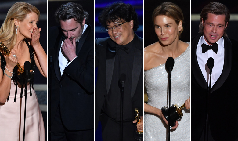 Laura Dern, Joaquin Phoenix, Bong Joon-ho, Renee Zellweger, Brad Pitt