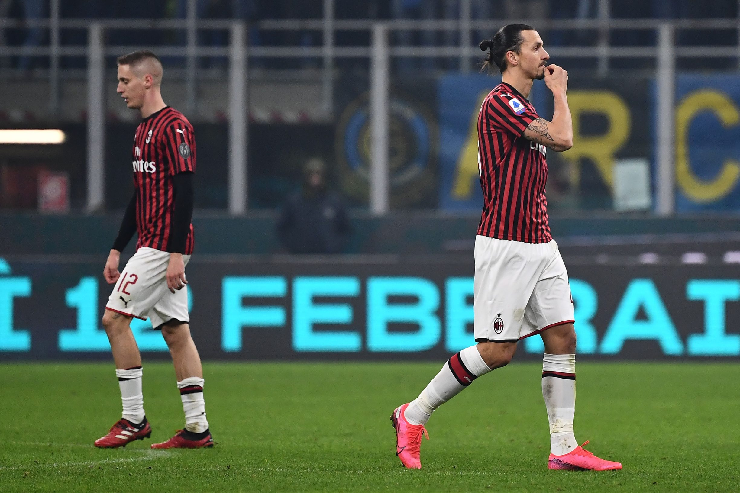 AC Milan's forward Zlatan Ibrahimovic from Sweden reacts at the end of during the Italian Serie A football match Inter Milan vs AC Milan on February 9, 2020 at the San Siro stadium in Milan. (Photo by MARCO BERTORELLO / AFP)