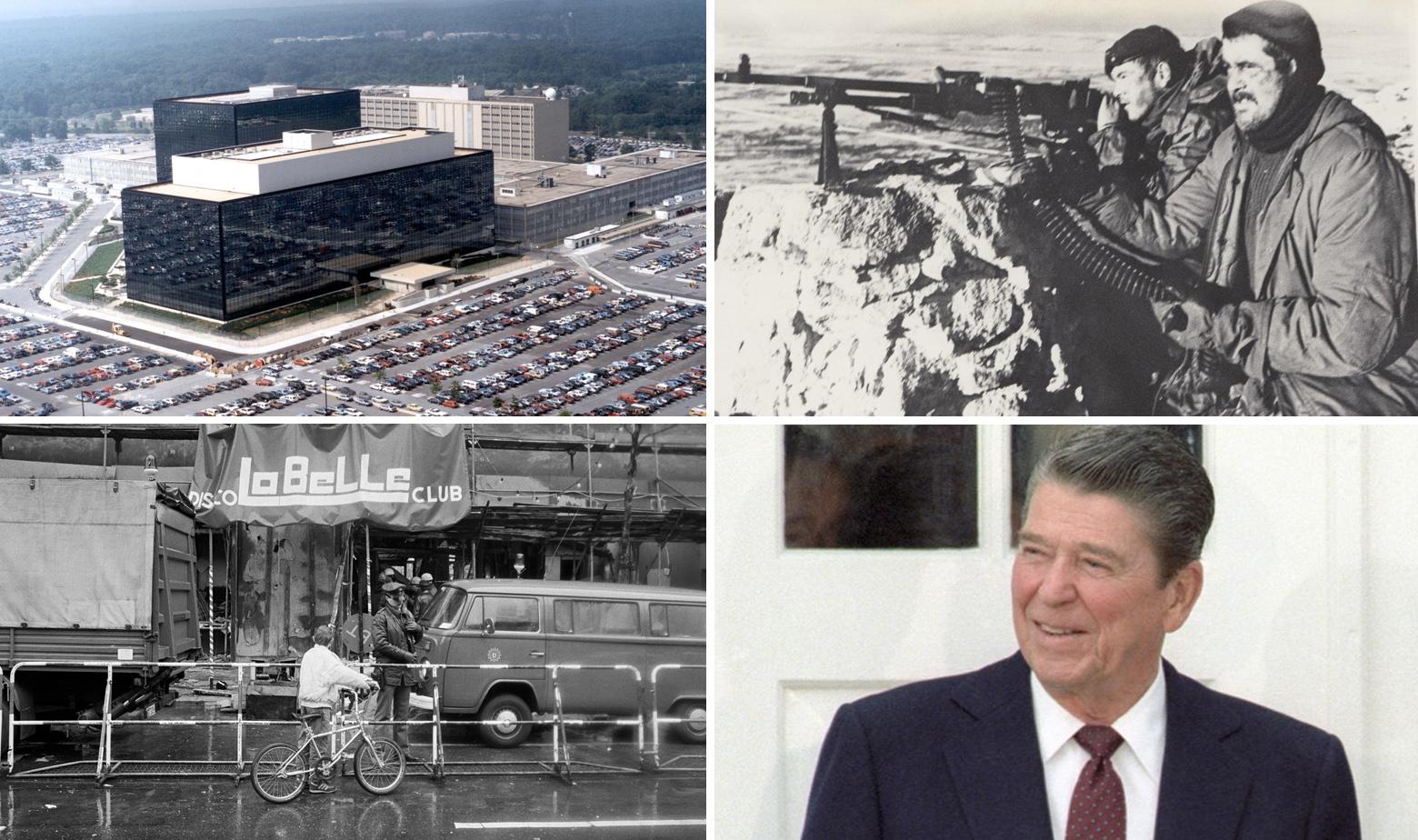 Sjedište NSA (gore lijevo), prizor iz Falklandskog rata (gore desno), napad na noćni klub La Belle u Berlinu 1986. (dolje lijevo), Ronald Reagan