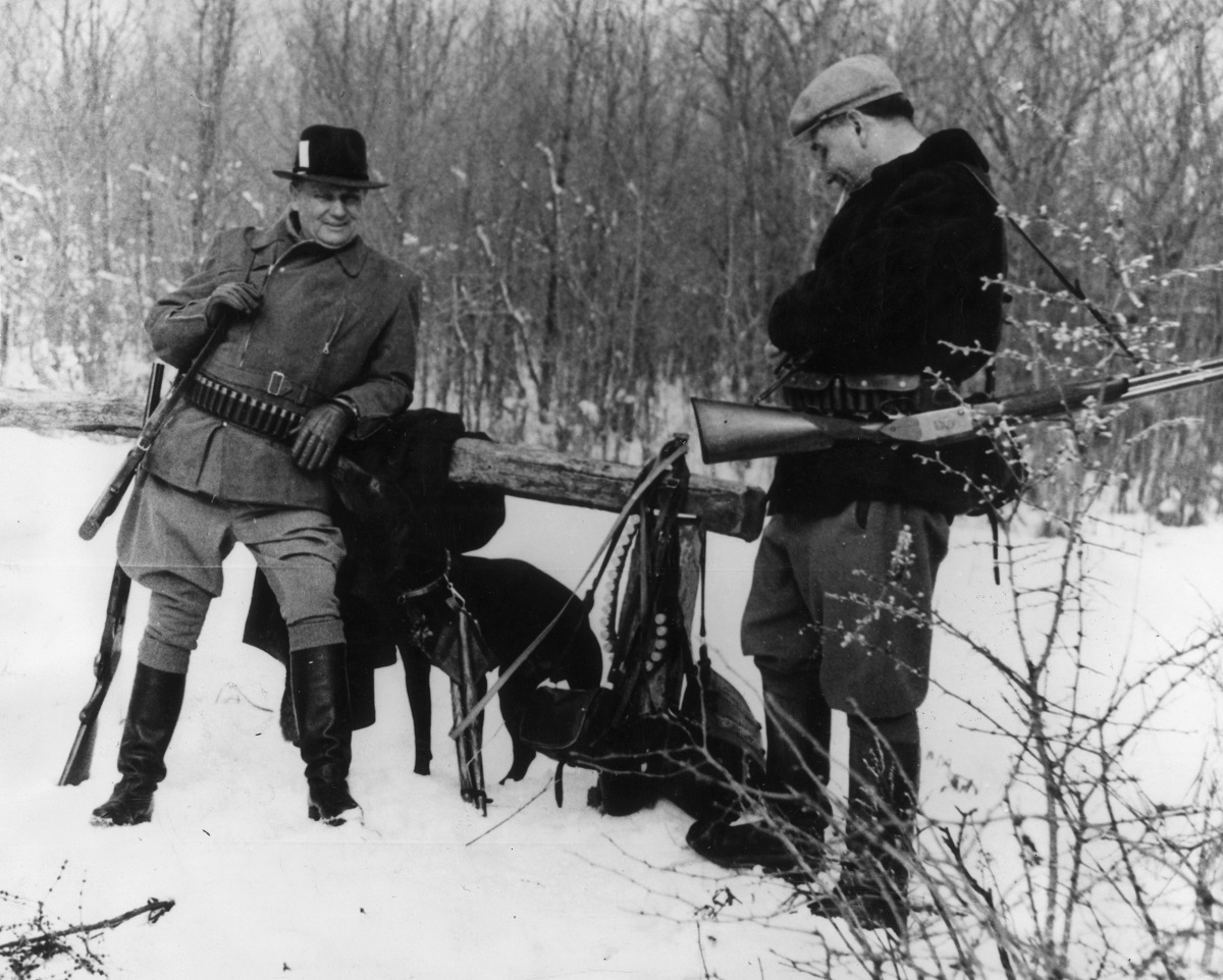31st January 1957:  Yugoslav statesman and president Marshal Tito (left) and Aleksandar Rankovic, one of the vice-presidents of the Yugoslav Federal Executive Committee, about to set out on a hunting expedition for ambassadors and ministers at Karadjordjevo, Yugoslavia.  (Photo by Keystone/Getty Images)