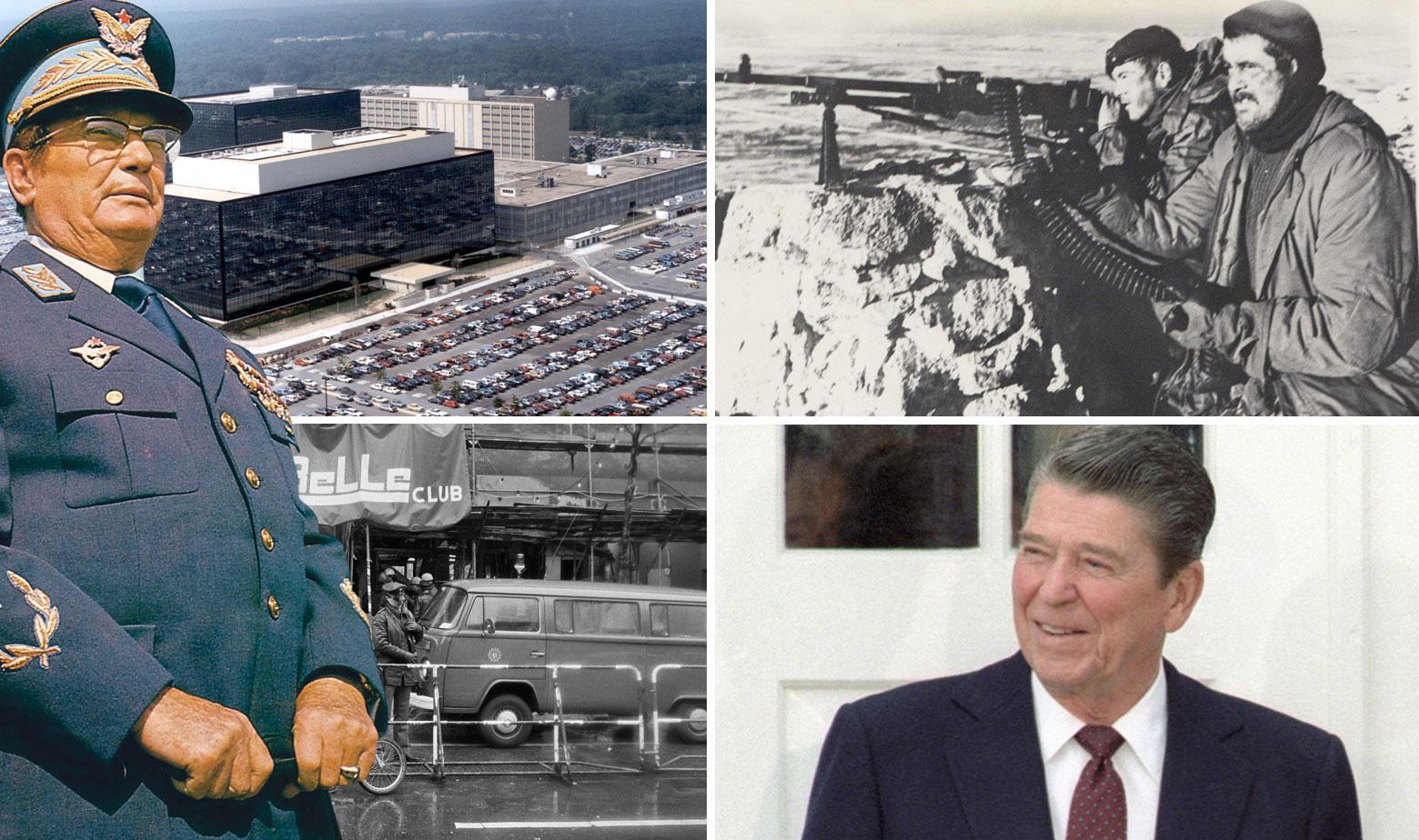 Sjedište NSA (gore lijevo), prizor iz Falklandskog rata (gore desno), napad na noćni klub La Belle u Berlinu 1986. (dolje lijevo), Ronald Reagan (dolje desno), Josip Broz Tito (sasvim lijevo)