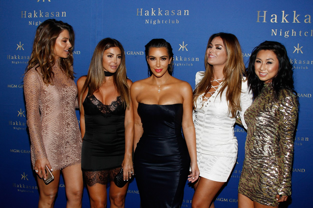Maria Menounos, Larsa Pippen, Kim Kardashian West, Carla DiBello and Tracy Romulus arrives at Hakkasan Nightclub at The MGM Grand Resort and Casino in Las Vegas, Nevada., Image: 294834944, License: Rights-managed, Restrictions: World Rights except USA, France, Germany, Spain, Italy, Australia & NZ, Switzerland, Holland, Poland and South Africa, Model Release: no, Credit line: JPA / PA Images / Profimedia