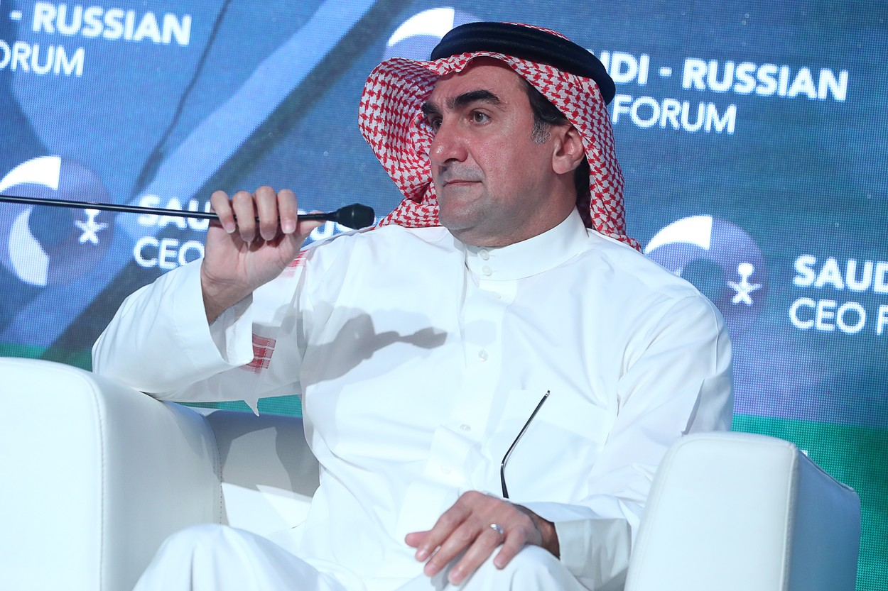 RIYADH, SAUDI ARABIA - OCTOBER 14, 2019: Yasir Othman Al-Rumayyan, Saudi Aramco Board Chairman, Saudi Arabia Public Investment Fund Chairman, takes part in the Russian-Saudi Investment Forum. Stanislav Krasilnikov/TASS/Sipa USA, Image: 476624563, License: Rights-managed, Restrictions: *** World Rights Except Russia and Japan ***, Model Release: no, Credit line: TASS / ddp USA / Profimedia