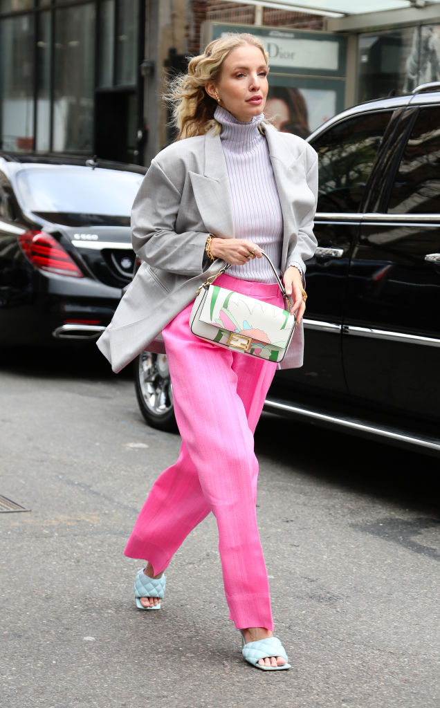 NEW YORK, NEW YORK - FEBRUARY 08: Leonie Hanne is seen wearing a Fendi bag, grey blazer and pink pants outside of the Ulla Johnson show on February 08, 2020 in New York City. (Photo by Donell Woodson/Getty Images)