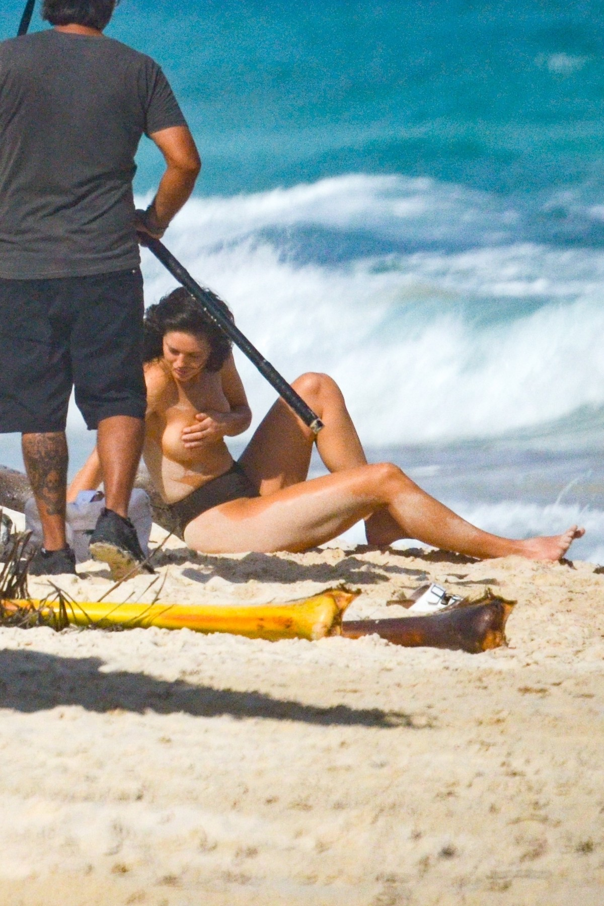 Tulum, MEXICO  - *EXCLUSIVE* - Model Emily DiDonato goes topless for a photoshoot in Tulum. The model has an extensive crew prep her hair and makeup for the shoot. Emily has a few outfit changes during the shoot changing into a red high-waisted bikini.  *UK Clients - Pictures Containing Children Please Pixelate Face Prior To Publication*, Image: 498239523, License: Rights-managed, Restrictions: , Model Release: no, Credit line: BACKGRID / Backgrid USA / Profimedia