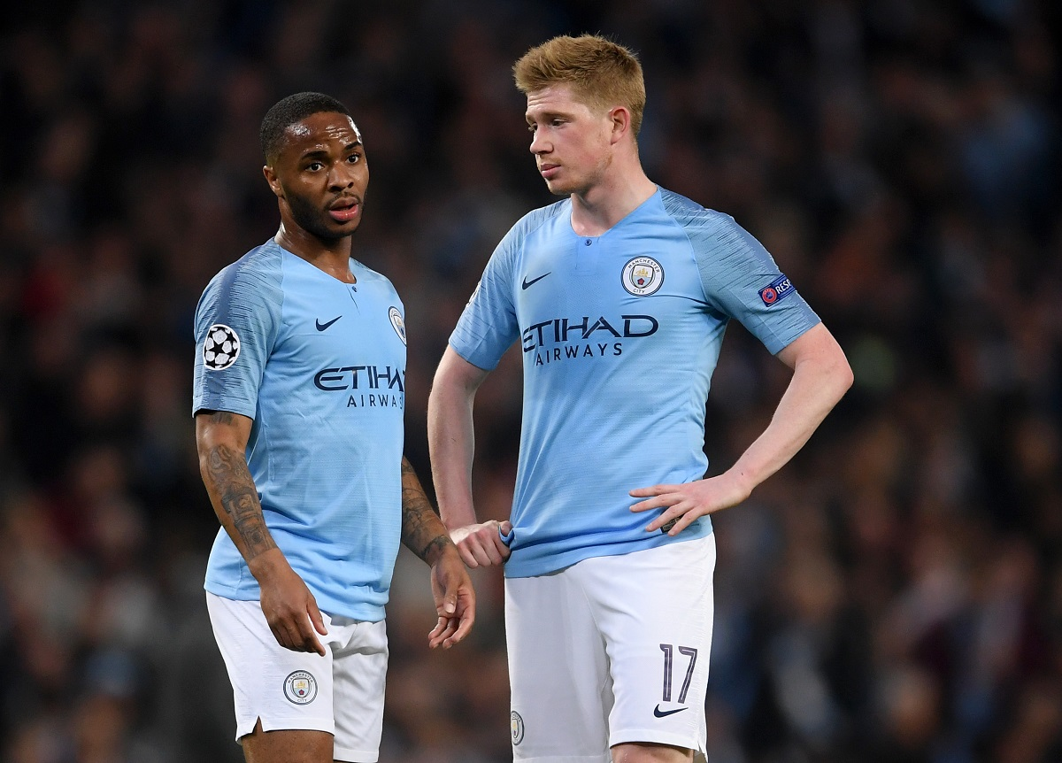 MANCHESTER, ENGLAND - APRIL 17: Kevin De Bruyne and Raheem Sterling of Manchester City show their disappointment during the UEFA Champions League Quarter Final second leg match between Manchester City and Tottenham Hotspur at at Etihad Stadium on April 17, 2019 in Manchester, England. (Photo by Laurence Griffiths/Getty Images)