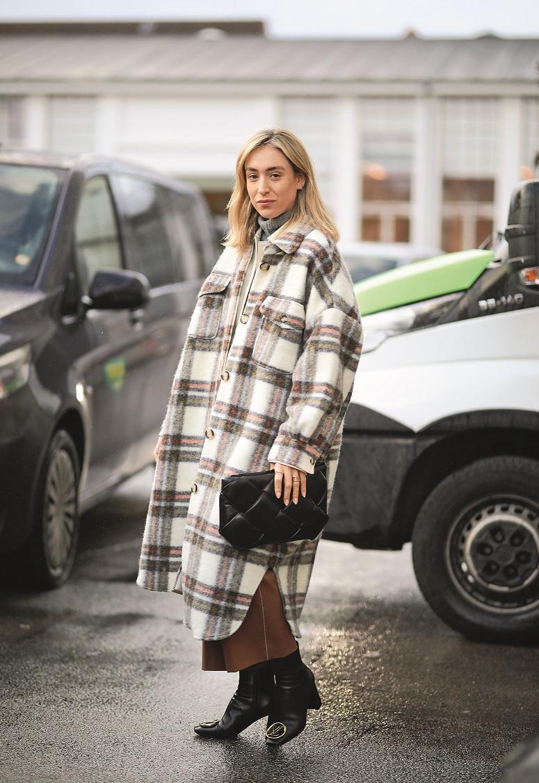 COPENHAGEN, DENMARK - JANUARY 30: Sonia Lyson wearing a Bottega Veneta bag and Louis Vuitton boots before Stand Studio on January 30, 2020 in Copenhagen, Denmark. (Photo by Jeremy Moeller/Getty Images)