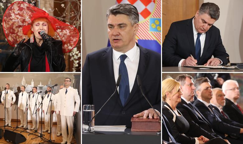 Zoran Milanović (sredina); Josipa Lisac (lijevo gore); Kolinda Grabar-Kitarović, Jakov Kitarović, Andrej Plenković, Stjepan Mesić i Ivo Josipović (dolje desno)