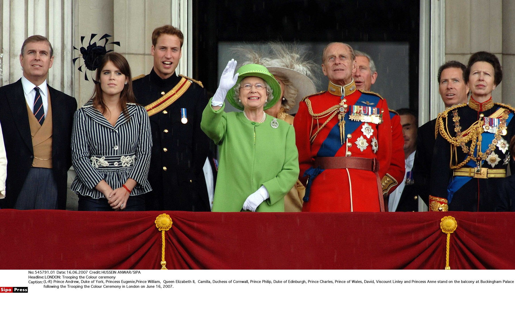 (L-R) Prince Andrew, Duke of York, Princess Eugenie,Prince William,  Queen Elizabeth ll,  Camilla, Duchess of Cornwall, Prince Philip, Duke of Edinburgh, Prince Charles, Prince of Wales, David, Viscount Linley and Princess Anne stand on the balcony at Buckingham Palace following the Trooping the Colour Ceremony in London on June 16, 2007., Image: 220747362, License: Rights-managed, Restrictions: 02270077/NONDUPLI, Model Release: no, Credit line: HUSSEIN ANWAR / Sipa Press / Profimedia