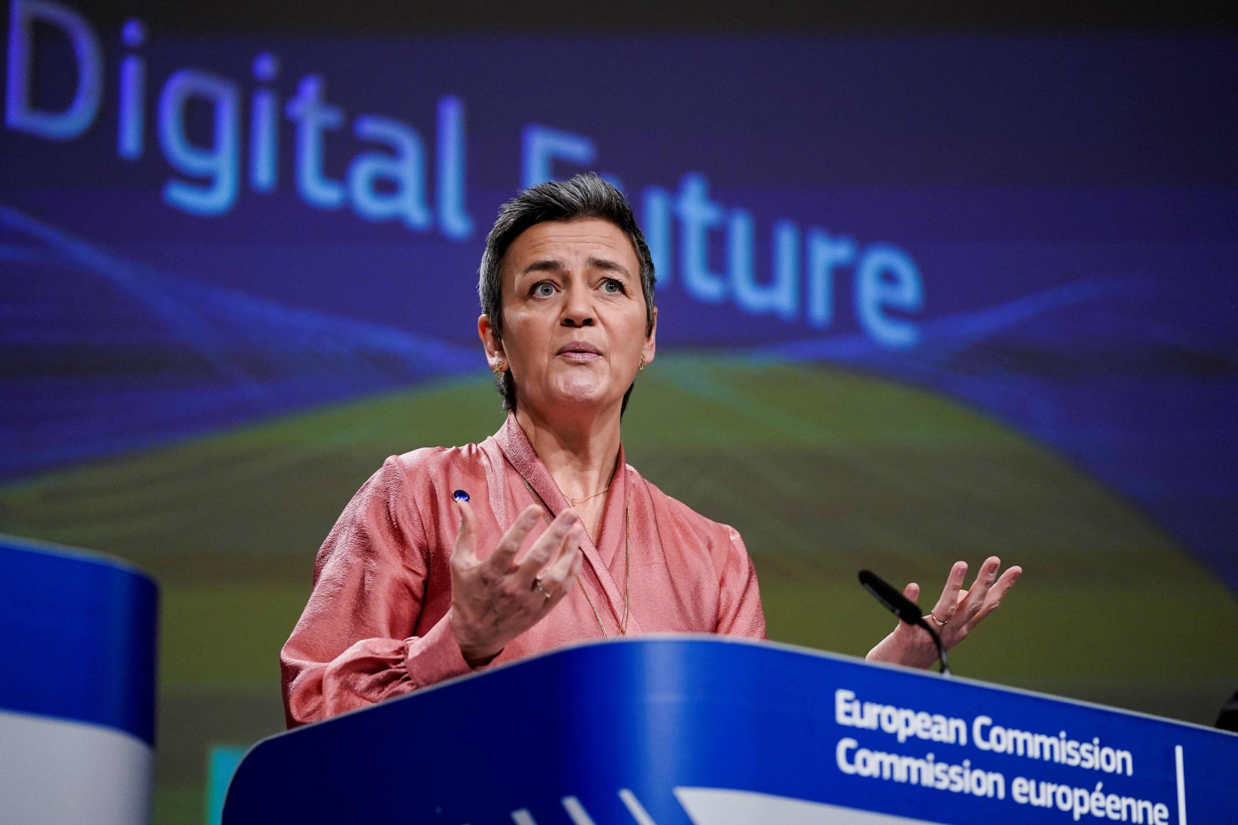 European Commission Executive Vice-President Margrethe Vestager addresses a press conference on Artificial Intelligence (AI) on February 19, 2020 at the European Commission headquarters at the Berlaymont building in Brussels. (Photo by Kenzo TRIBOUILLARD / AFP)