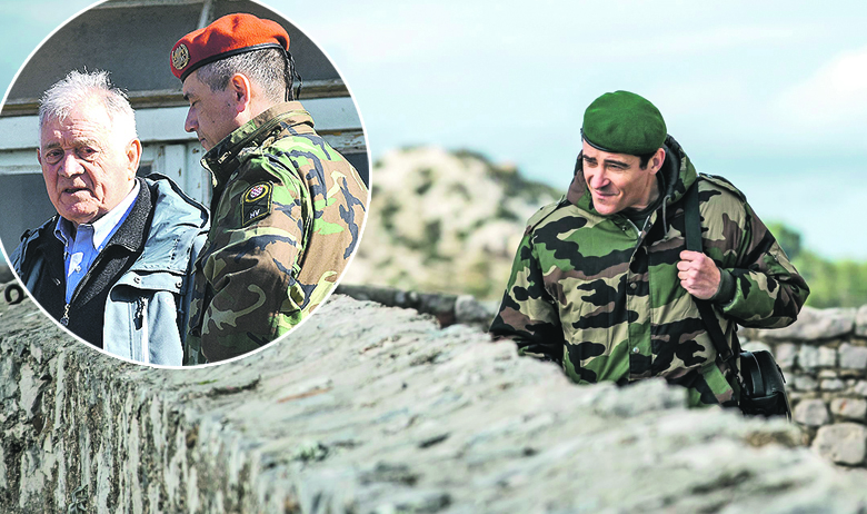 Goran Višnjić kao Ante Gotovina; u krugu: Antun Vrdoljak i Igor Mešin na snimanju 'Generala'