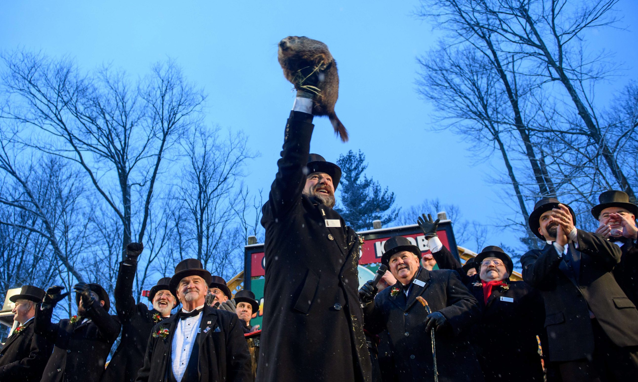 PUNXSUTAWNEY, PA - FEBRUARY 02: Groundhog handler AJ Dereume holds Punxsutawney Phil, who did not see his shadow, predicting an early or late spring during the 134th annual Groundhog Day festivities on February 2, 2020 in Punxsutawney, Pennsylvania. Groundhog Day is a popular tradition in the United States and Canada. A crowd of upwards of 20,000 people spent a night of revelry awaiting the sunrise and the groundhog's exit from his winter den. If Punxsutawney Phil sees his shadow he regards it as an omen of six more weeks of bad weather and returns to his den. Early spring arrives if he does not see his shadow, causing Phil to remain above ground.   Jeff Swensen/Getty Images/AFP == FOR NEWSPAPERS, INTERNET, TELCOS & TELEVISION USE ONLY ==