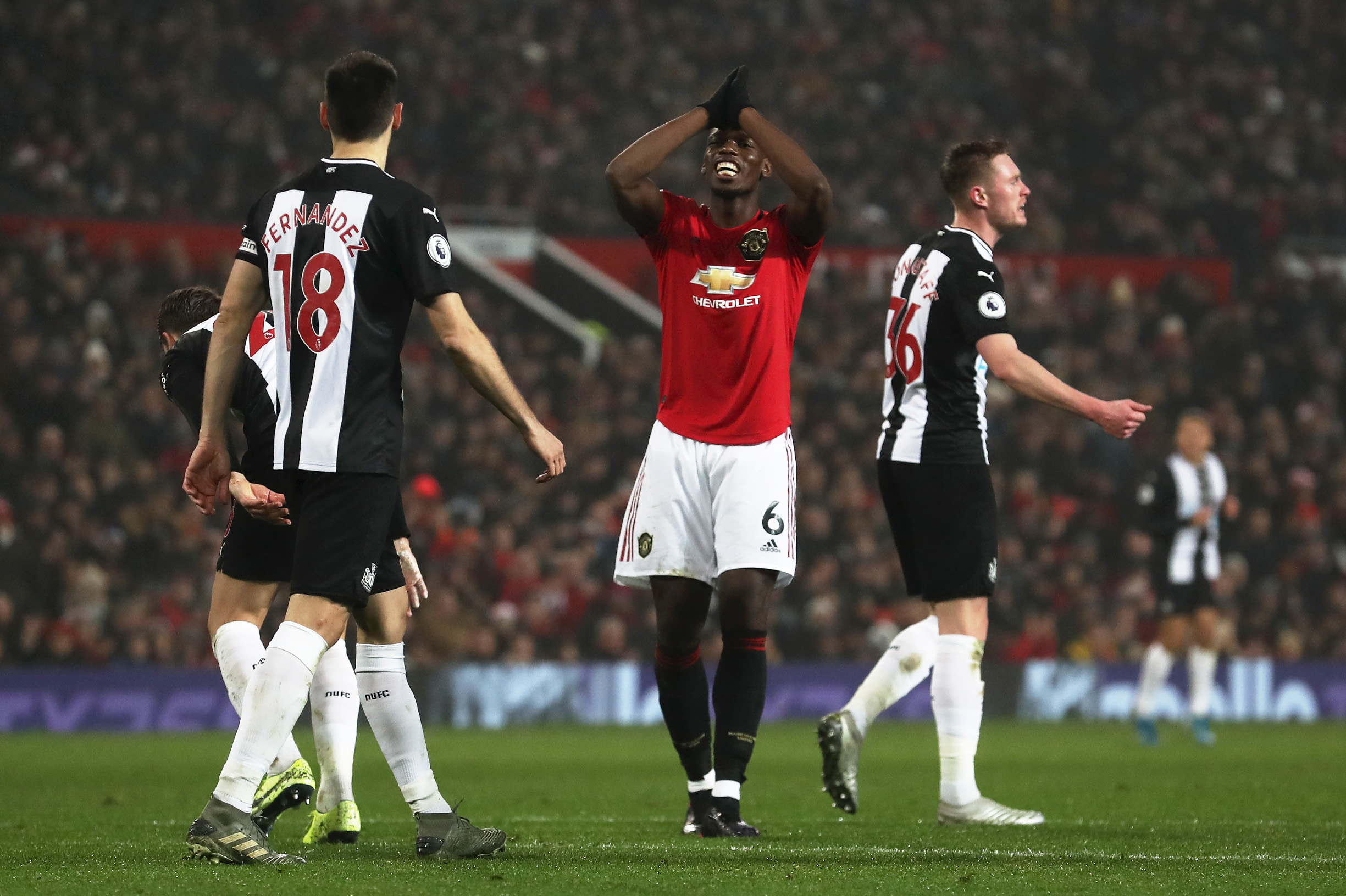 MANCHESTER, ENGLAND - DECEMBER 26: Paul Pogba of Manchester United reacts during the Premier League match between Manchester United and Newcastle United at Old Trafford on December 26, 2019 in Manchester, United Kingdom. (Photo by Ian MacNicol/Getty Images)