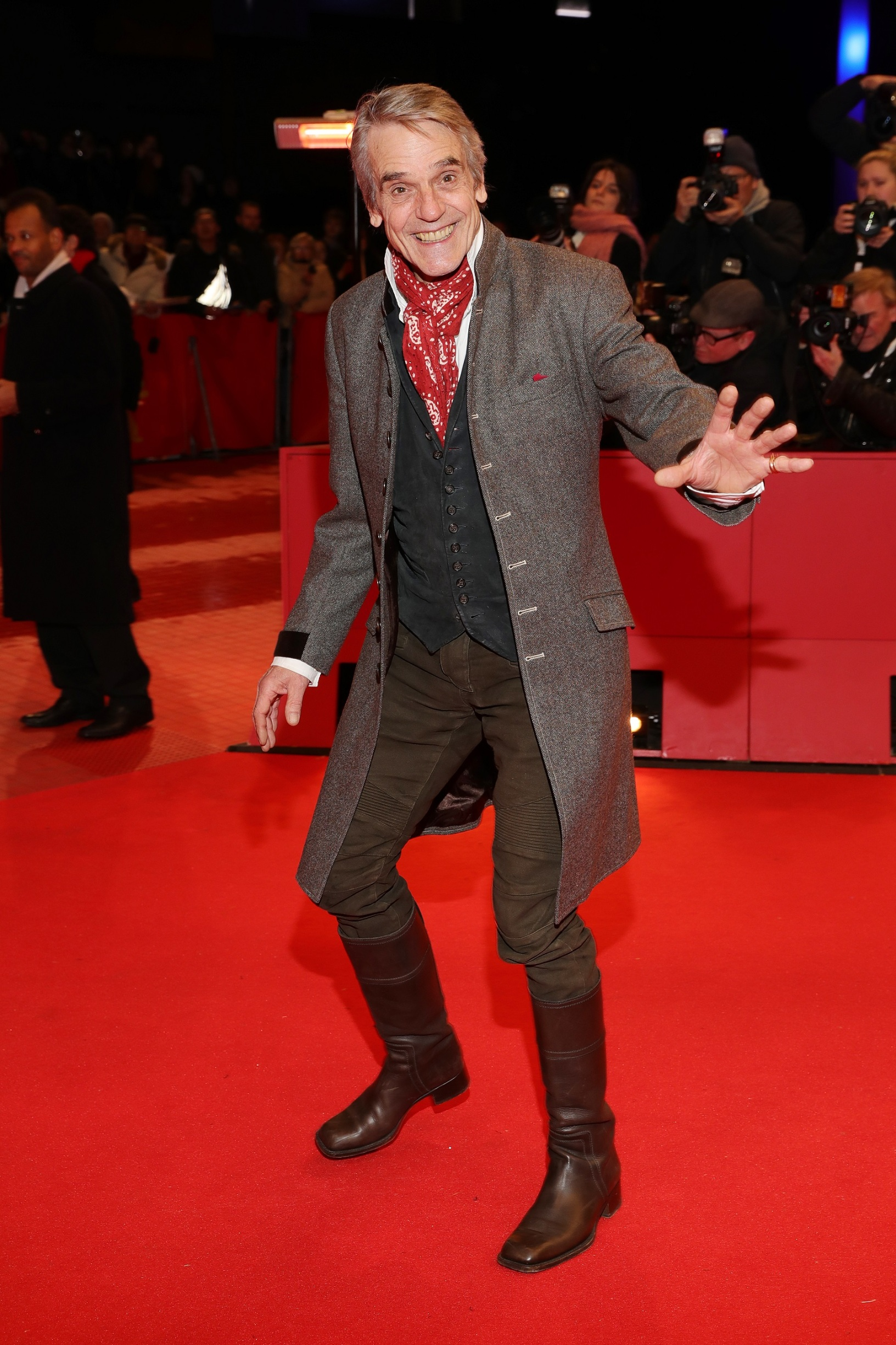 BERLIN, GERMANY - FEBRUARY 20: President of the International Jury Jeremy Irons arrives for the opening ceremony and