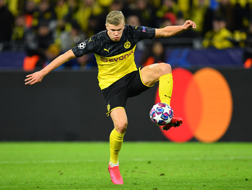 DORTMUND, GERMANY - FEBRUARY 18: Erling Braut Haaland of Dortmund in action during the UEFA Champions League round of 16 first leg match between Borussia Dortmund and Paris Saint-Germain at Signal Iduna Park on February 18, 2020 in Dortmund, Germany. (Photo by Stuart Franklin/Bongarts/Getty Images)
