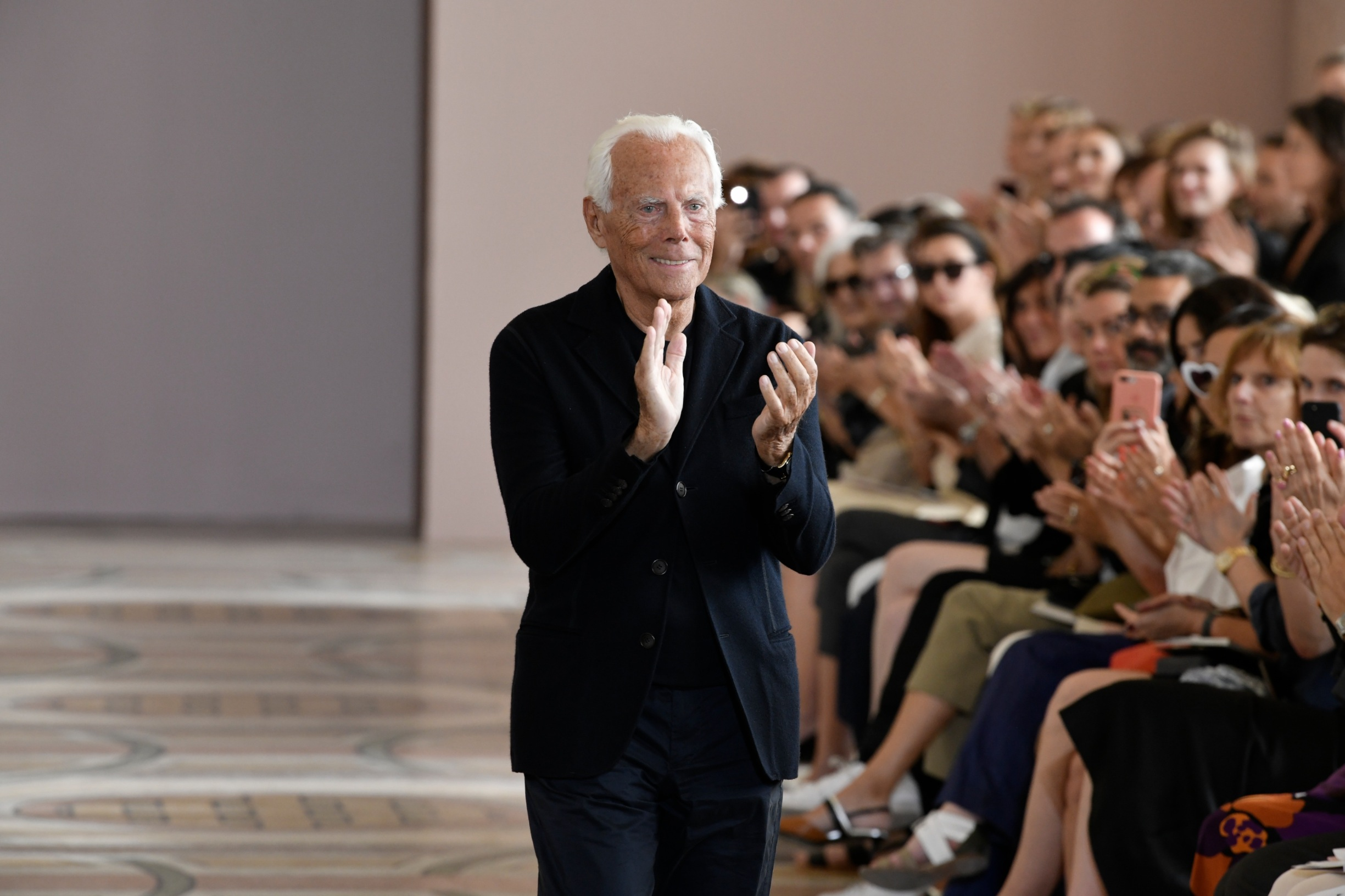 (190703) -- PARIS, July 3, 2019 () -- Designer Giorgio Armani salutes to audiences during Giorgio Armani Prive's Fall/Winter 2019/20 Haute Couture collections in Paris, France, July 2, 2019., Image: 453738059, License: Rights-managed, Restrictions: WORLD RIGHTS excluding China - Fee Payable Upon Reproduction - For queries contact Avalon.red - sales@avalon.red London: +44 (0) 20 7421 6000 Los Angeles: +1 (310) 822 0419 Berlin: +49 (0) 30 76 212 251, Model Release: no, Credit line: Xinhua/Avalon.red / Avalon Editorial / Profimedia