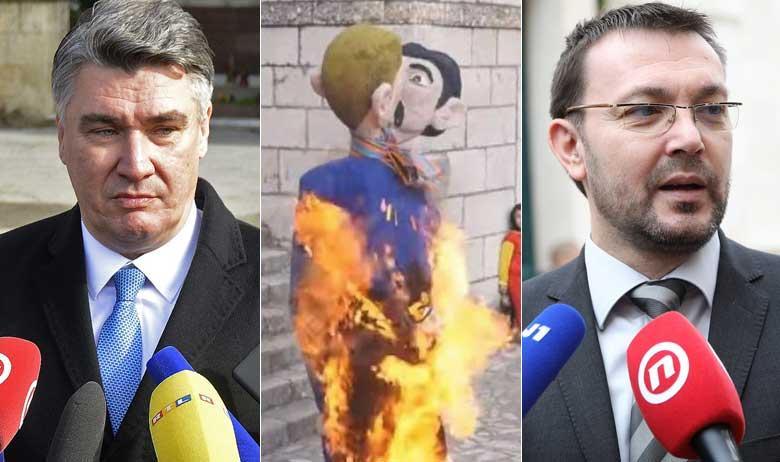 Zoran Milanović i Arsen Bauk (u sredini lutka spaljenog gej para)