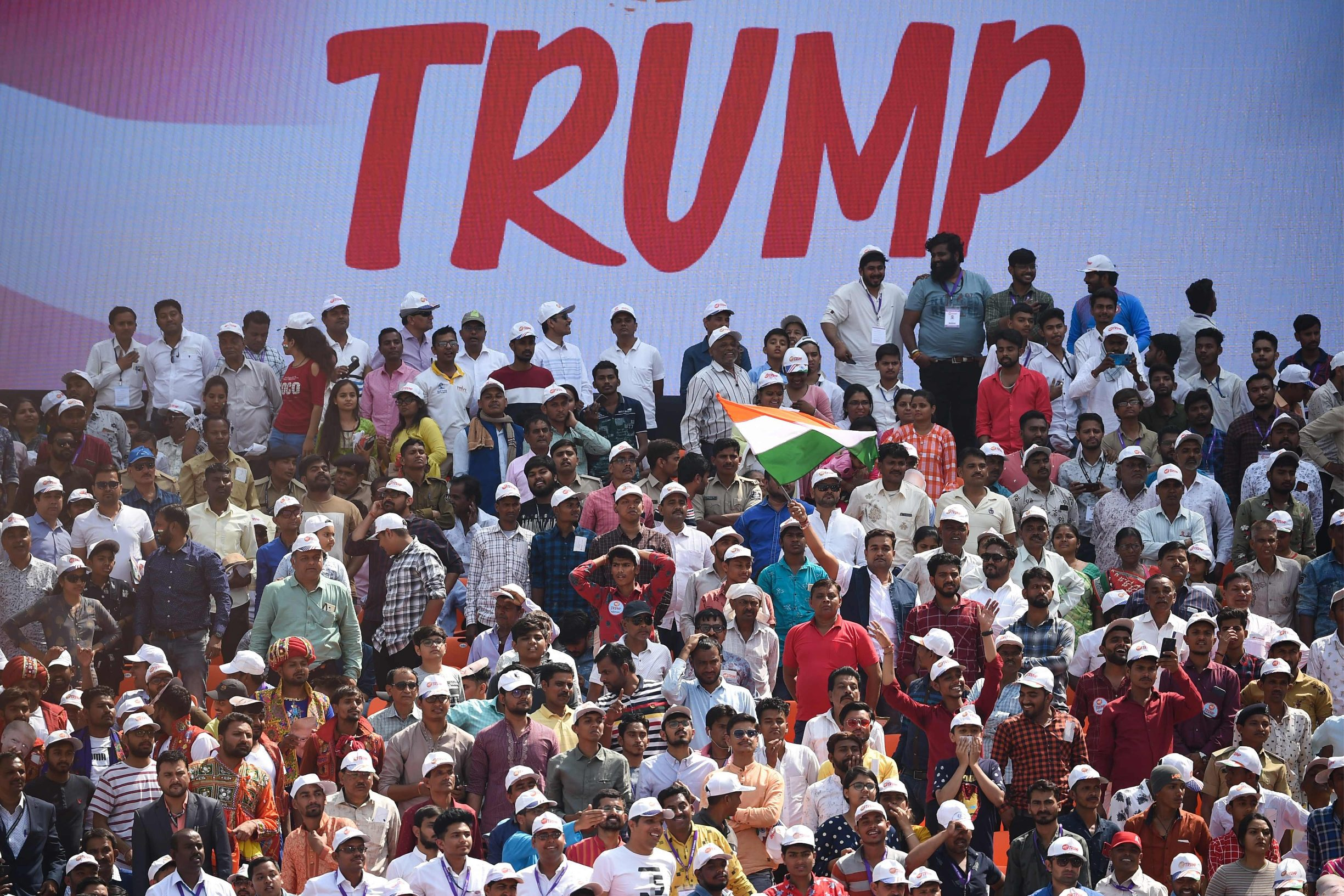 People attend 'Namaste Trump' rally at Sardar Patel Stadium in Motera, on the outskirts of Ahmedabad, on February 24, 2020. (Photo by Money SHARMA / AFP)